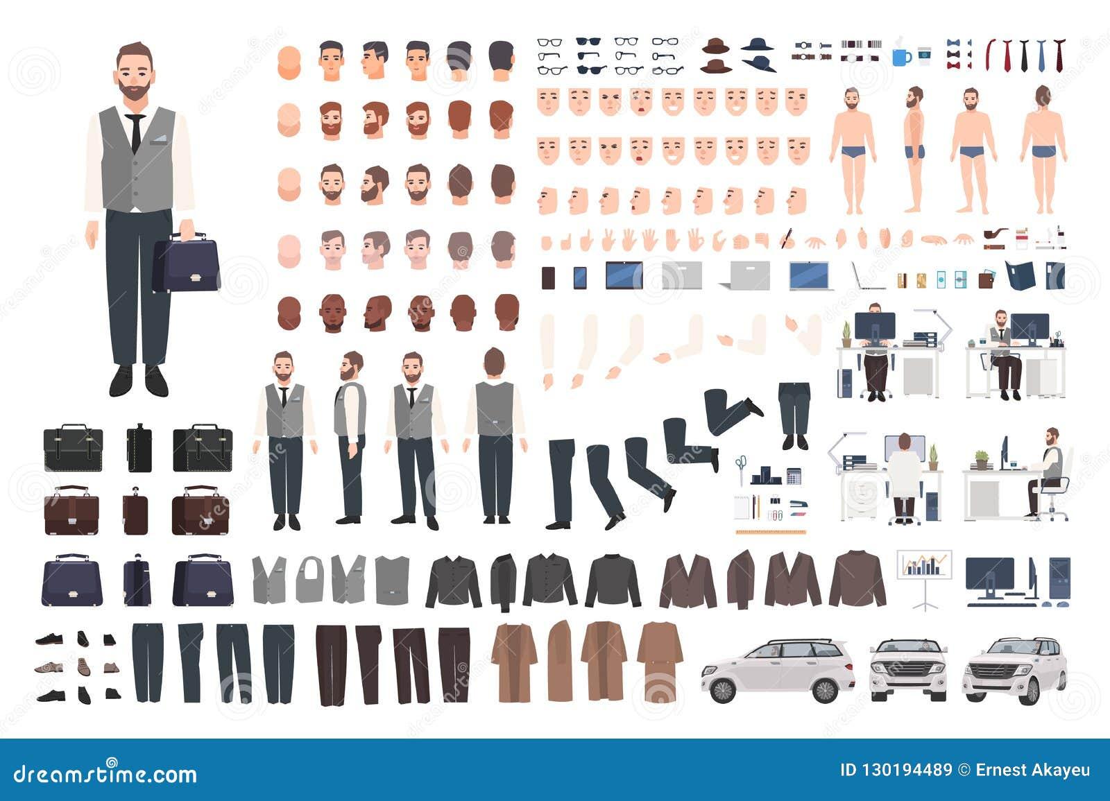 Trabalhador de escritório, grupo da criação do caixeiro ou do gerente ou jogo farpado de DIY Pacote das partes do corpo masculina