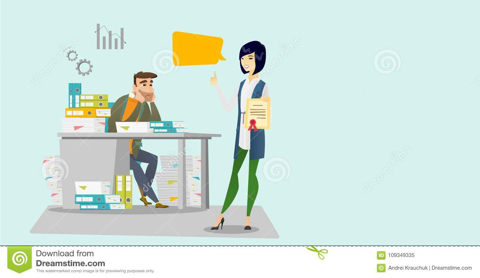 Trabalhador e empregador de escritório cansado com certificado