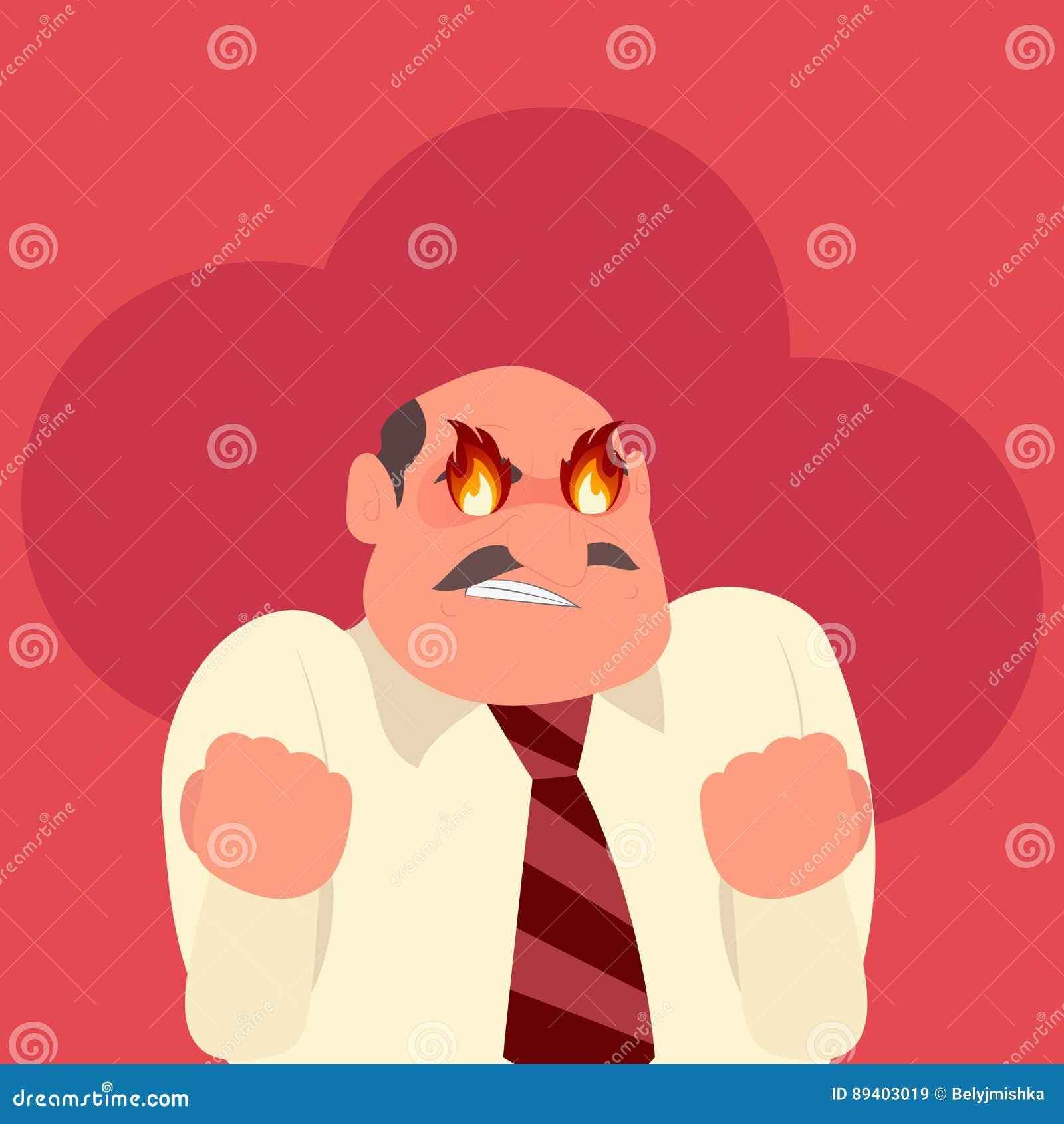 Trabalhador irritado com fogo em seus olhos