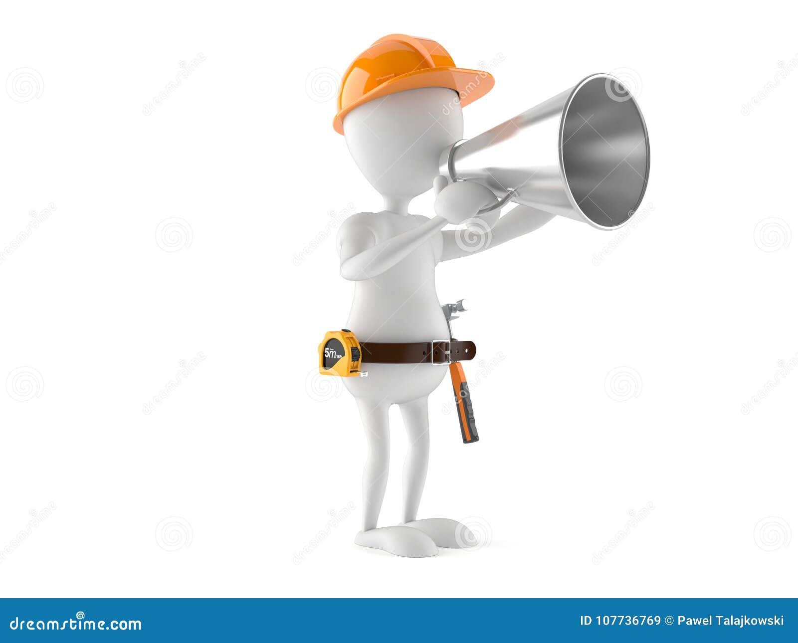 Trabalhador manual com megafone
