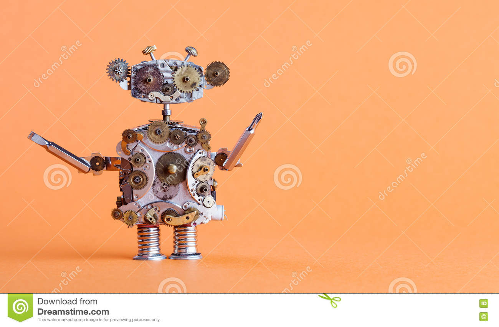 Trabalhador manual do robô do estilo de Steampunk com chave de fenda Caráter mecânico do brinquedo engraçado, conceito do serviço