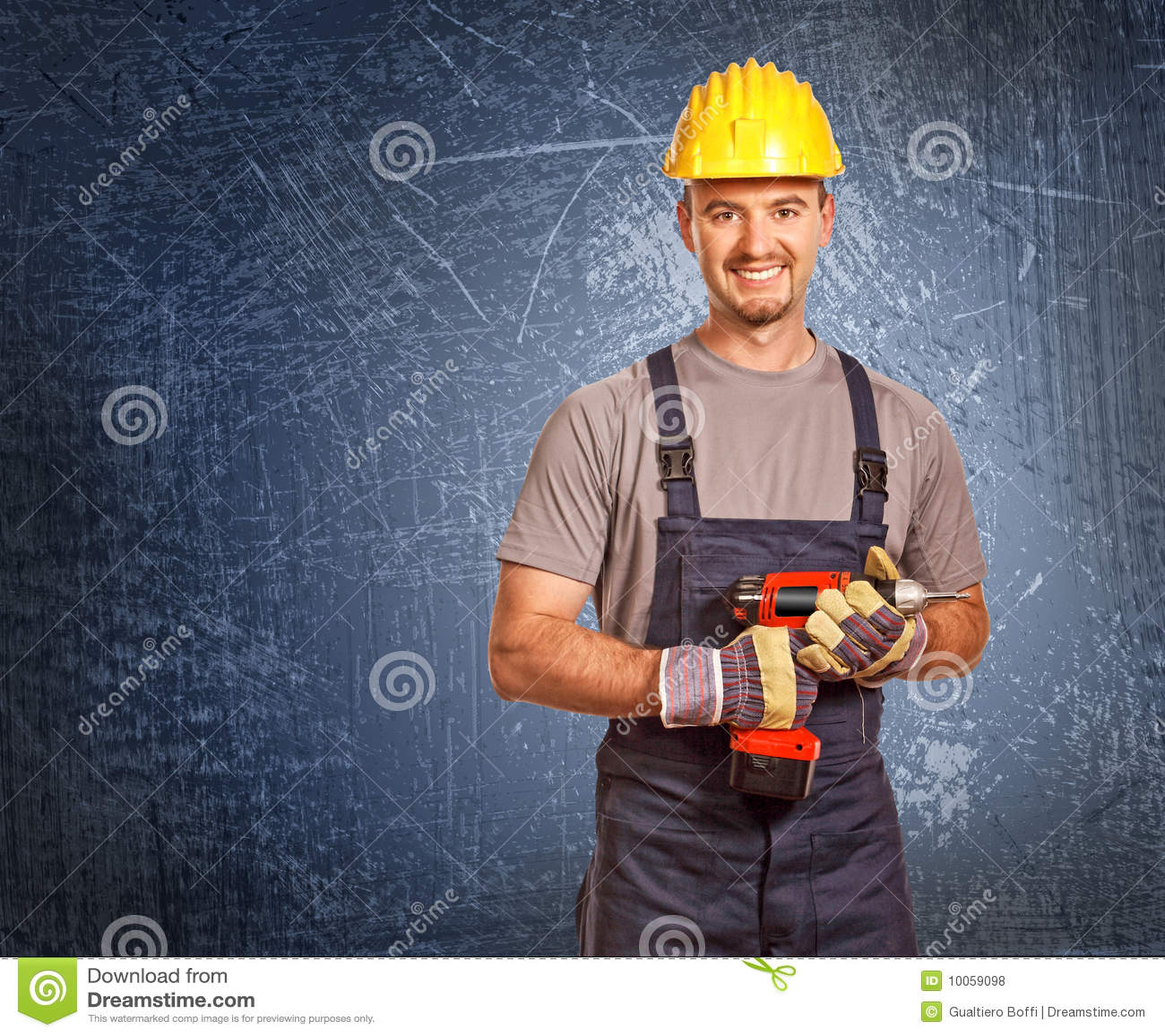 Trabalhador manual e fundo do grunge
