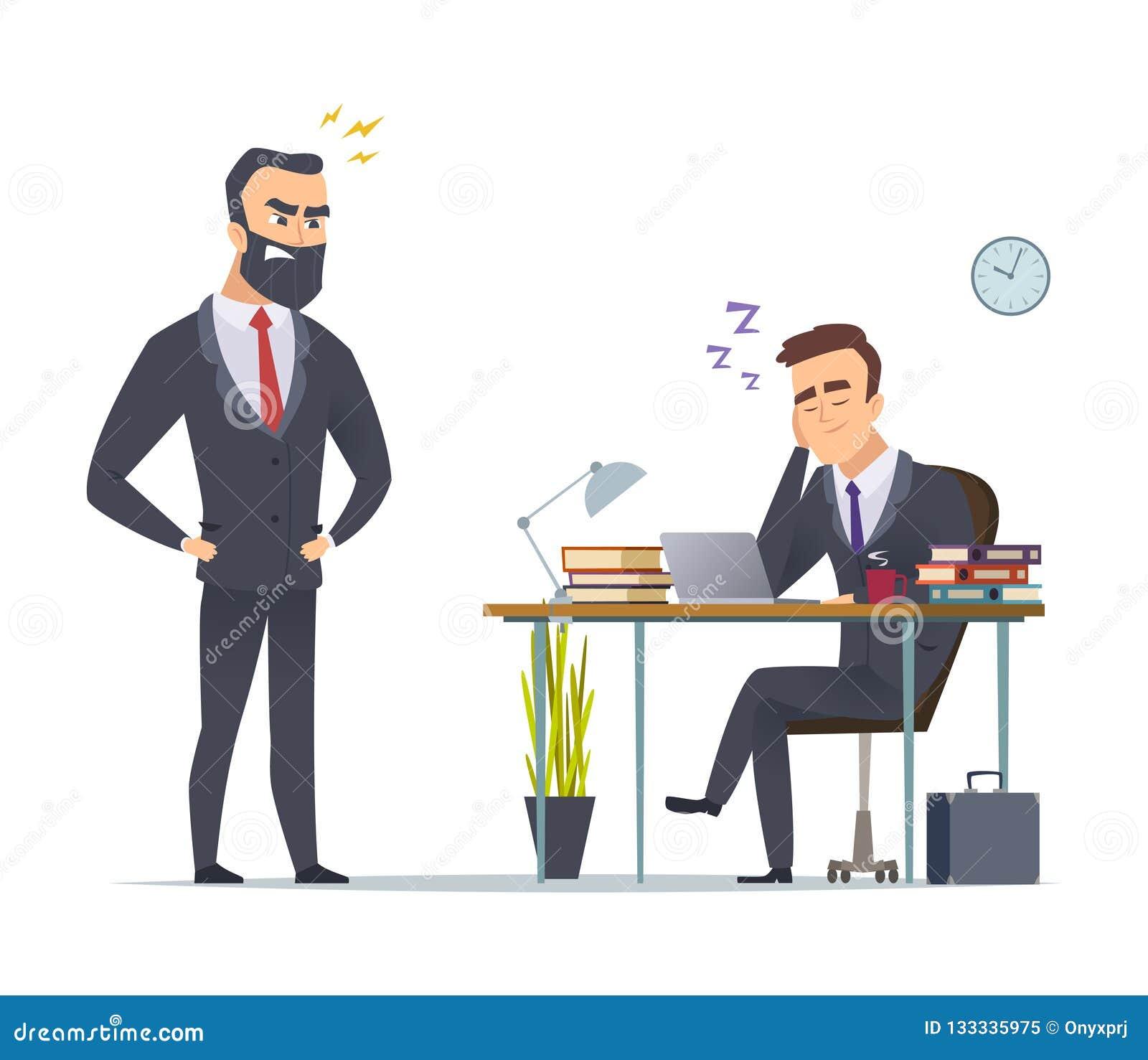 Trabalhador preguiçoso Gerente de escritório para negócios cansado do trabalho rotineiro que desliza no conceito ereto do vetor d