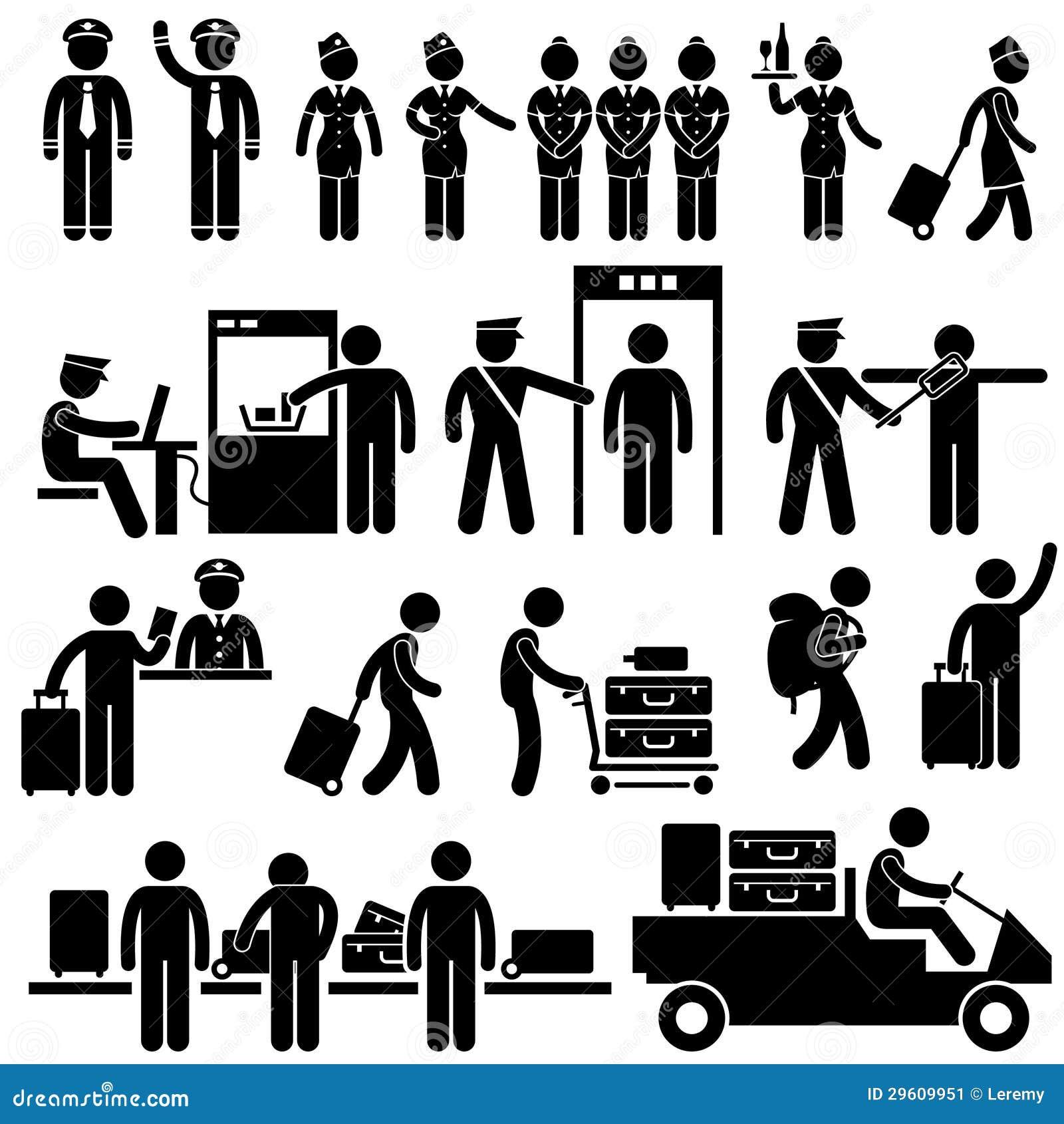Trabalhadores Do Aeroporto E Pictograma Da Seguran 231 A