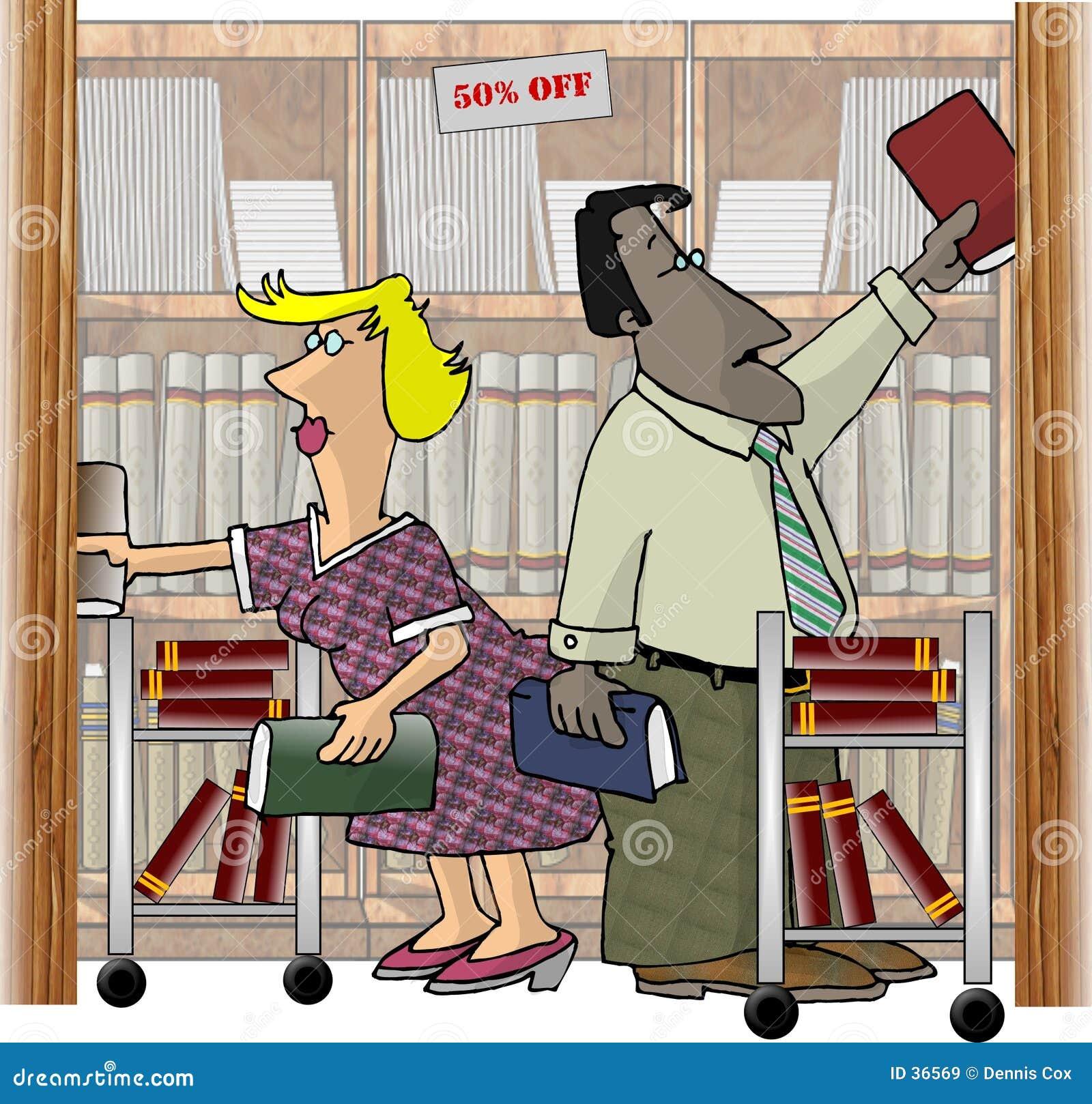 Trabalhadores em uma livraria