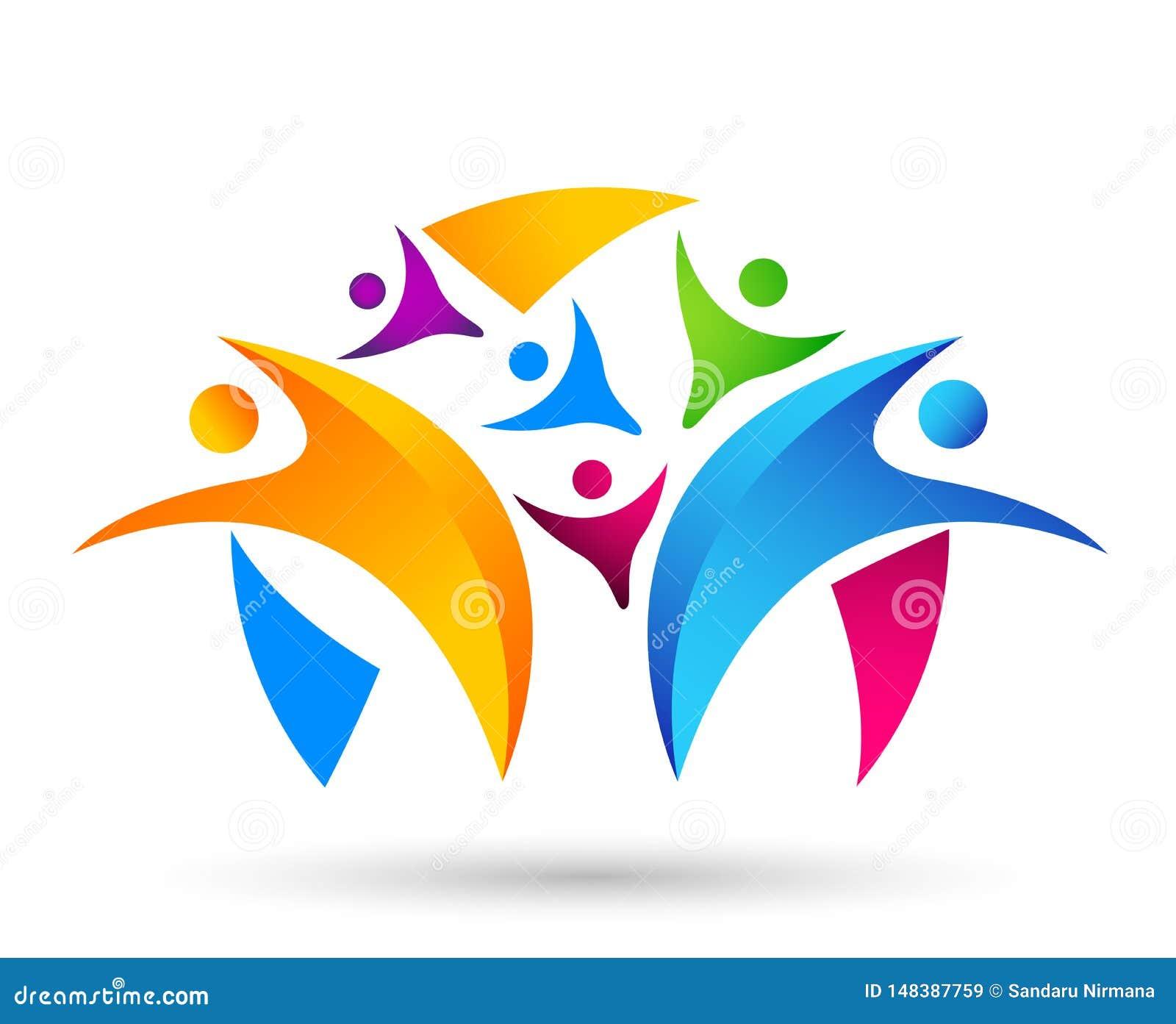 Trabalho da equipe da uni?o dos povos que comemora o projeto saud?vel do logotipo do elemento do ?cone do s?mbolo do logotipo da