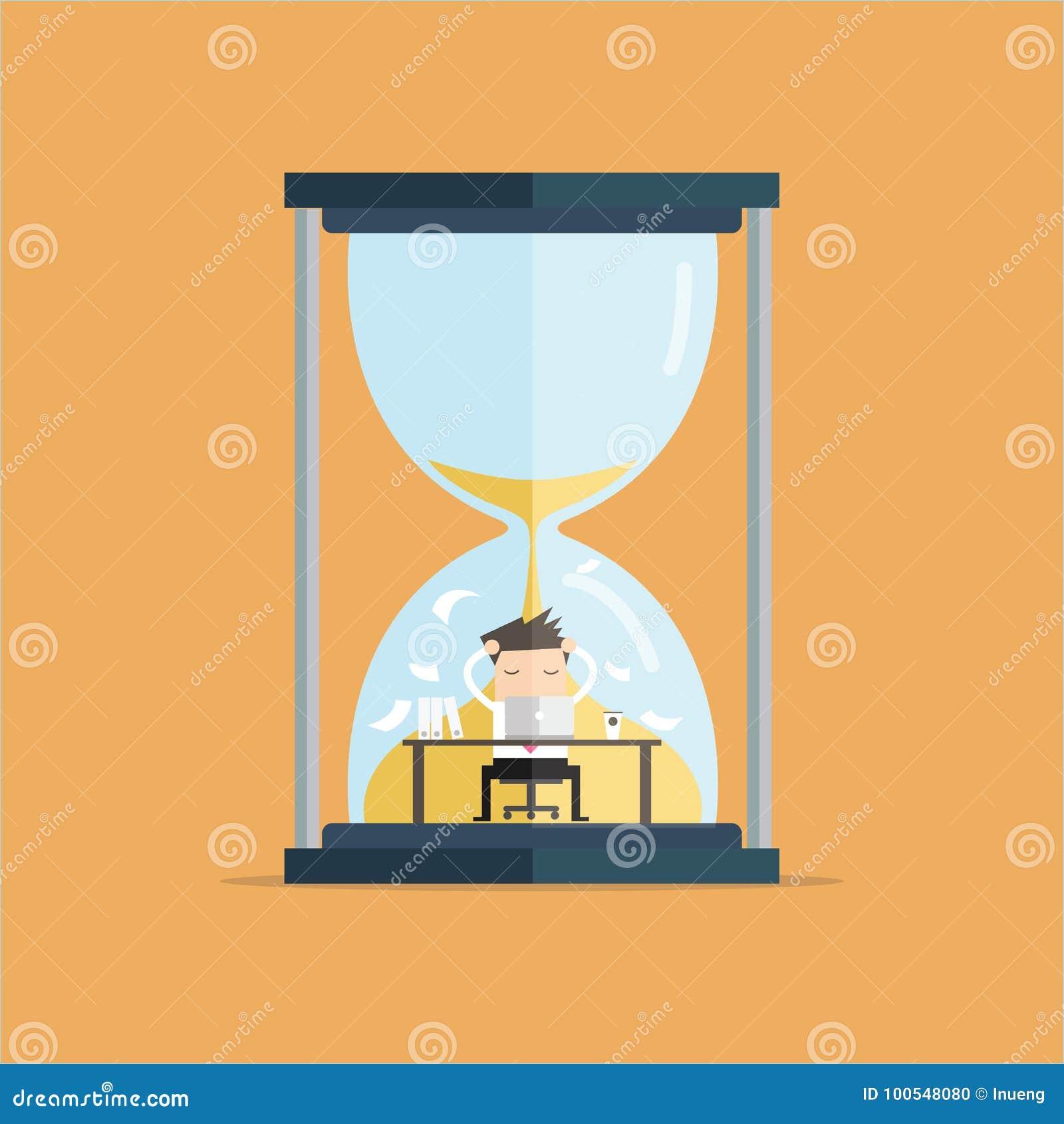 1052f09cd61 Trabalho do homem de negócios duramente no computador sobre o conceito  grande do fim do prazo do relógio da areia Ilustração do vetor