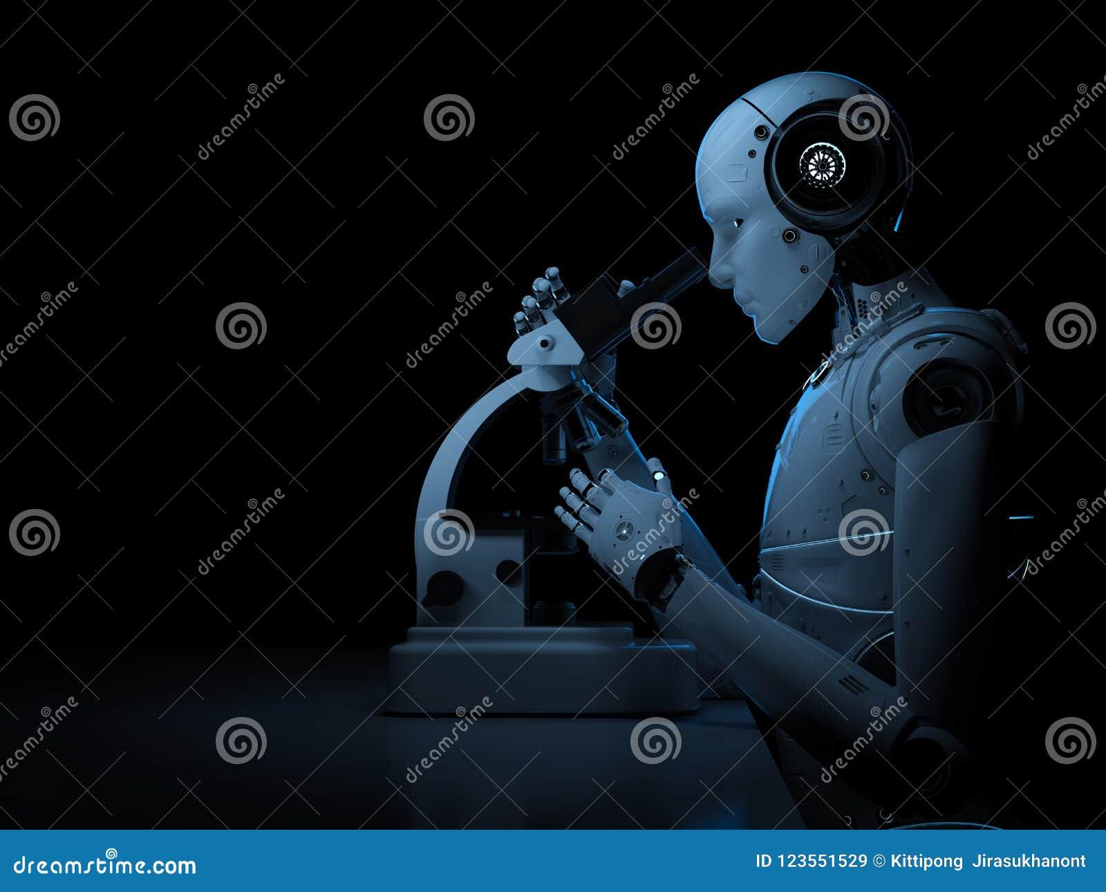 Trabalho do robô no microscópio
