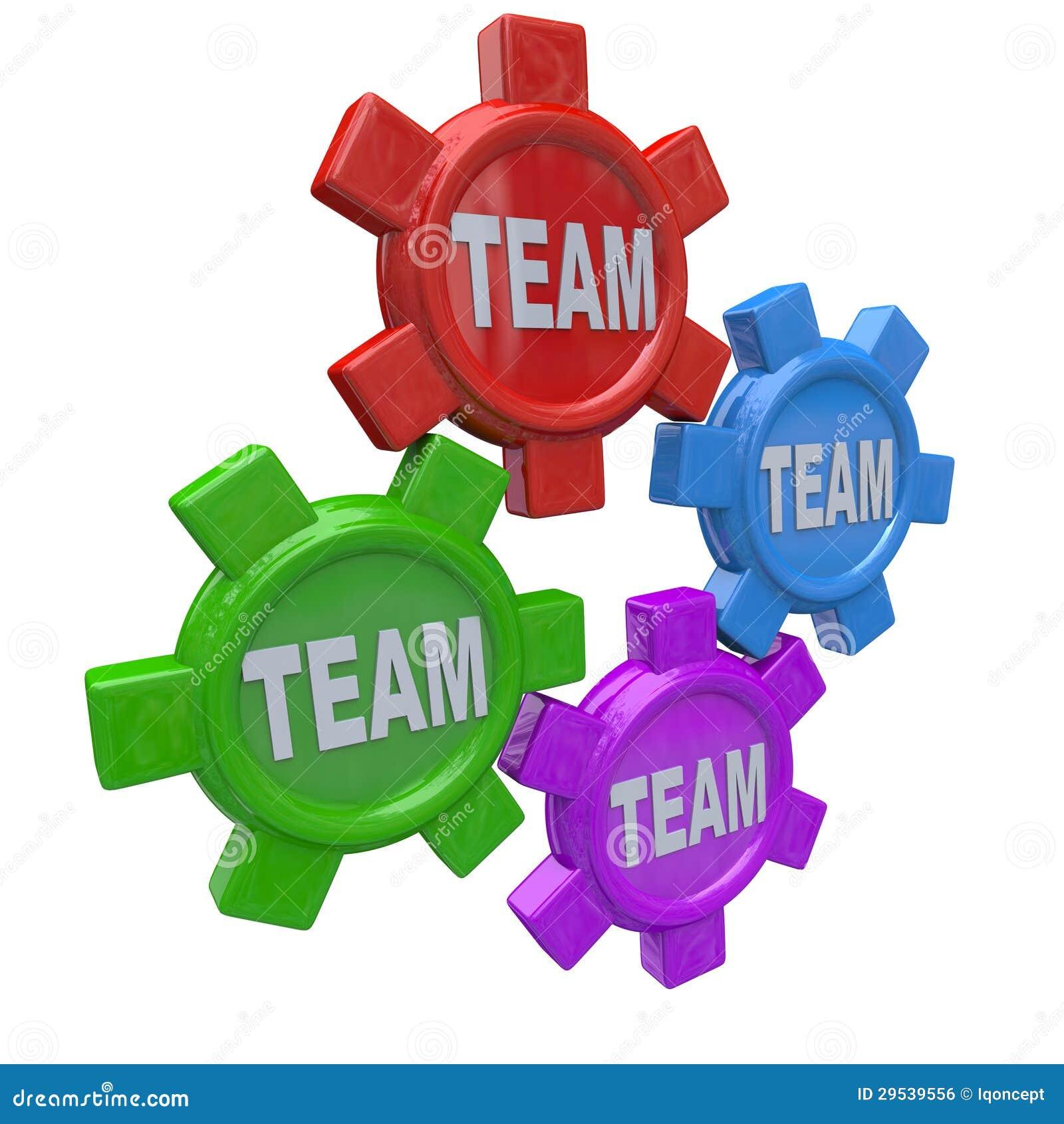 Trabalhos de equipa - quatro engrenagens que giram junto como a equipe