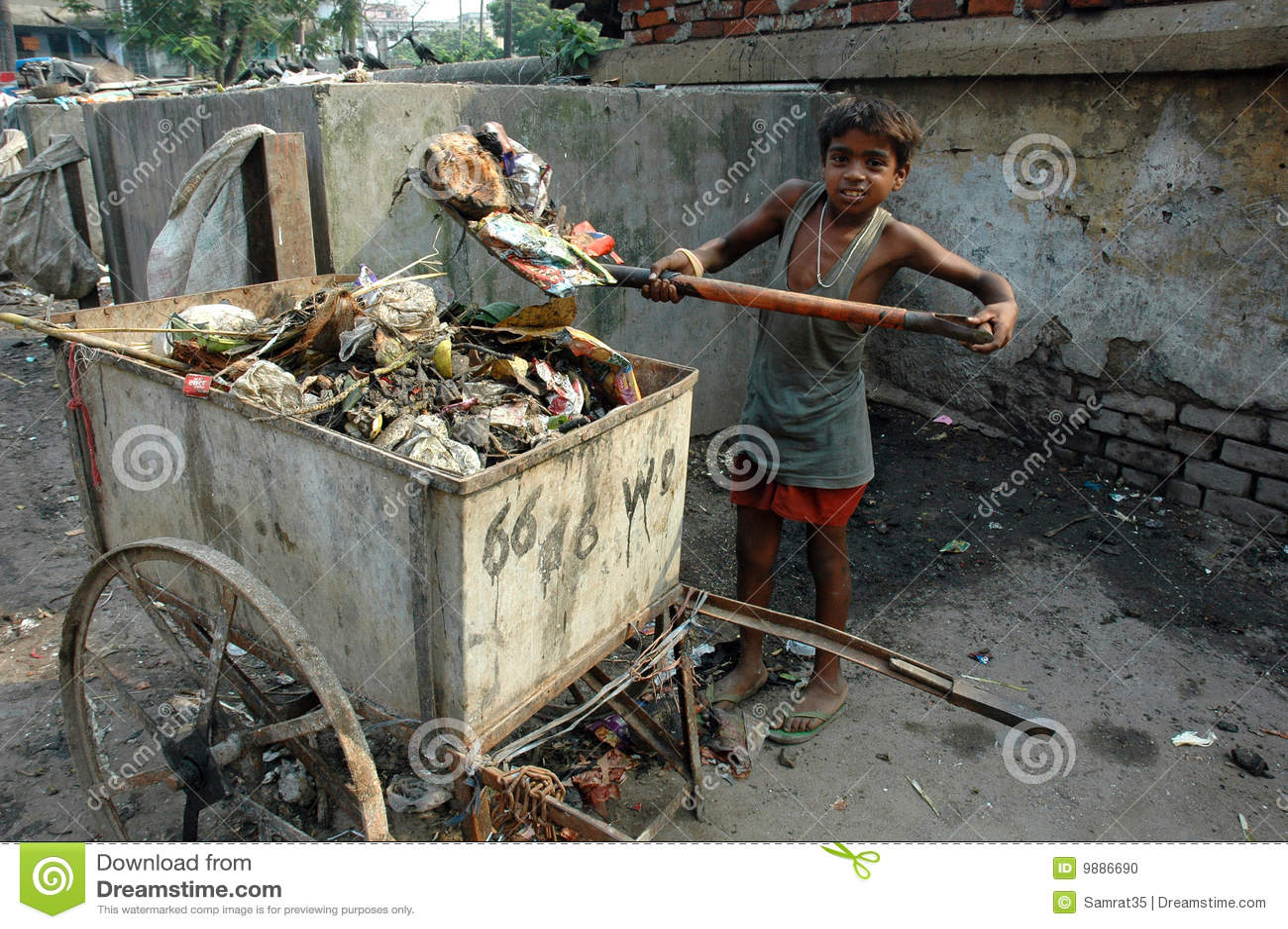 Trabalhos infanteis em India.