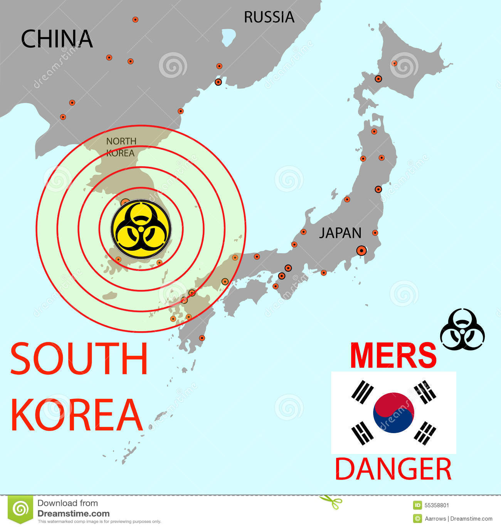 Tracci la diffusione di Mers Corona Virus Illustrazione di vettore