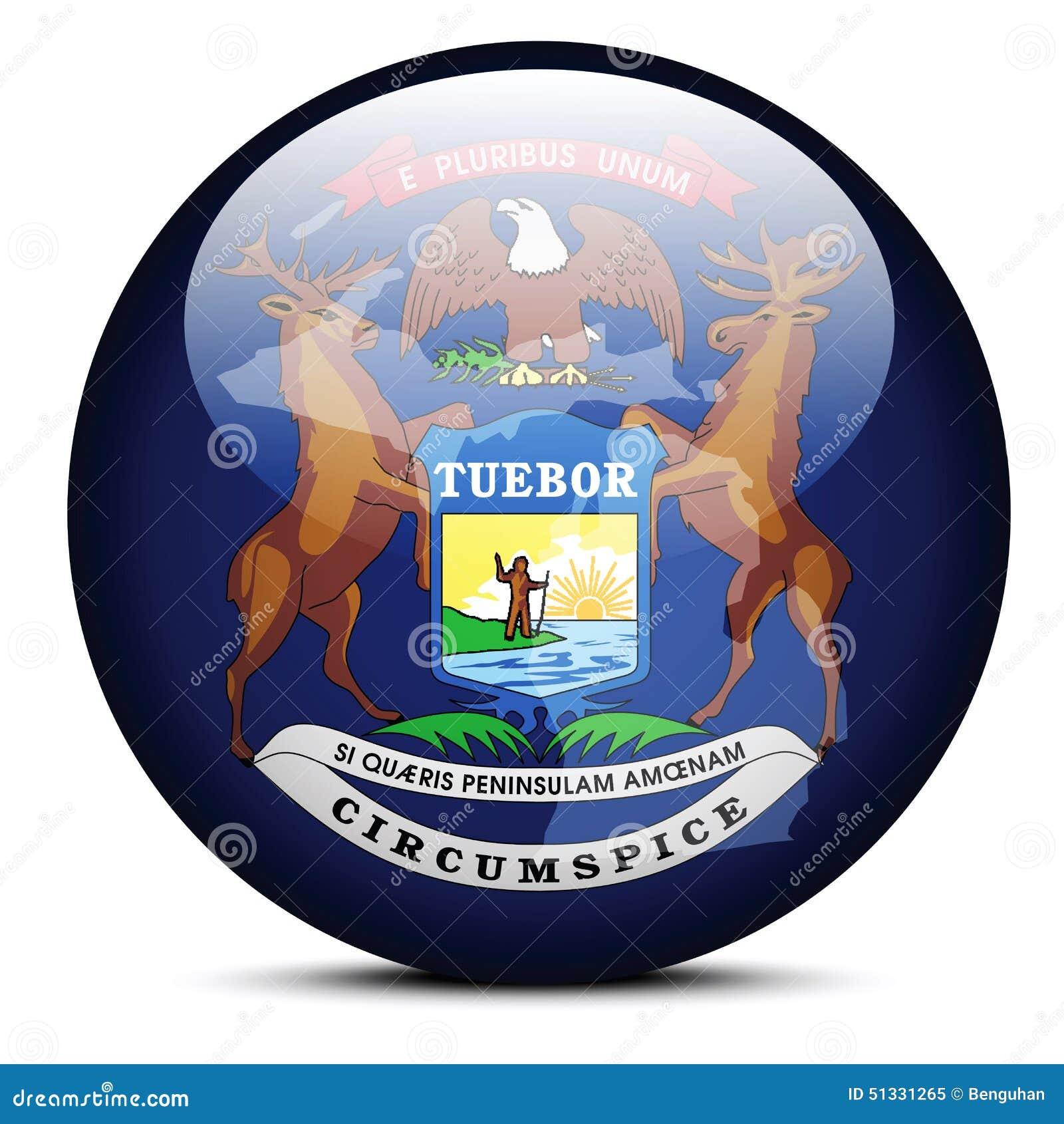 Trace En El Botón De La Bandera Del Estado De Los E.E.U.U. Michigan ...