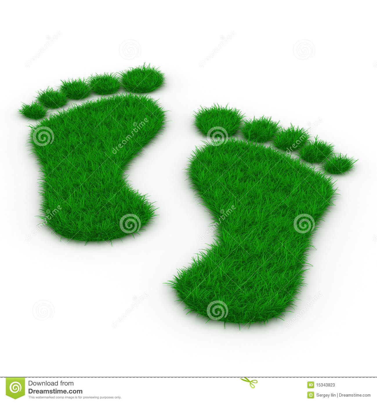 Trace foot from grass