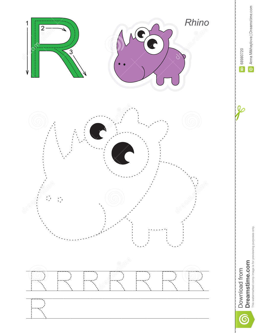 Download Trace Game For Letter R Stock Vector. Illustration Of Learn    68980720