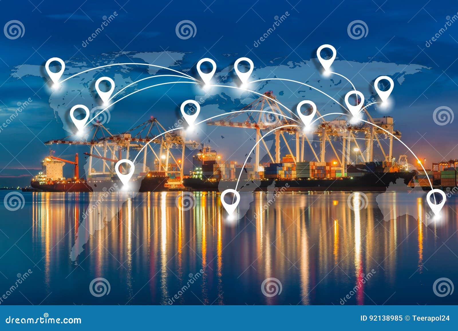 Trace o conection liso da rede do pino na logística e no tra globais do mundo