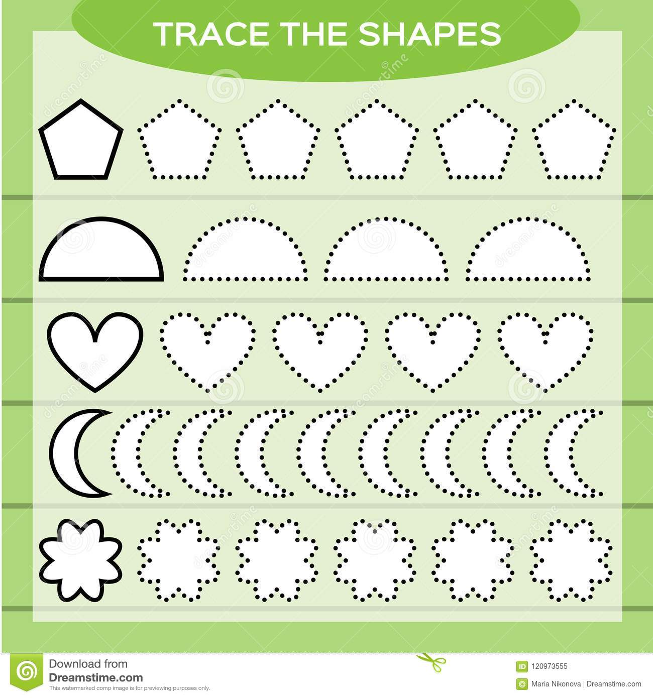 Trace The Shapes Kids Education Preschool Worksheet