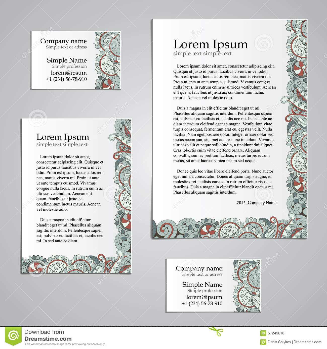Tracery Card Business Design Set - Natural Mood Stock Vector ...