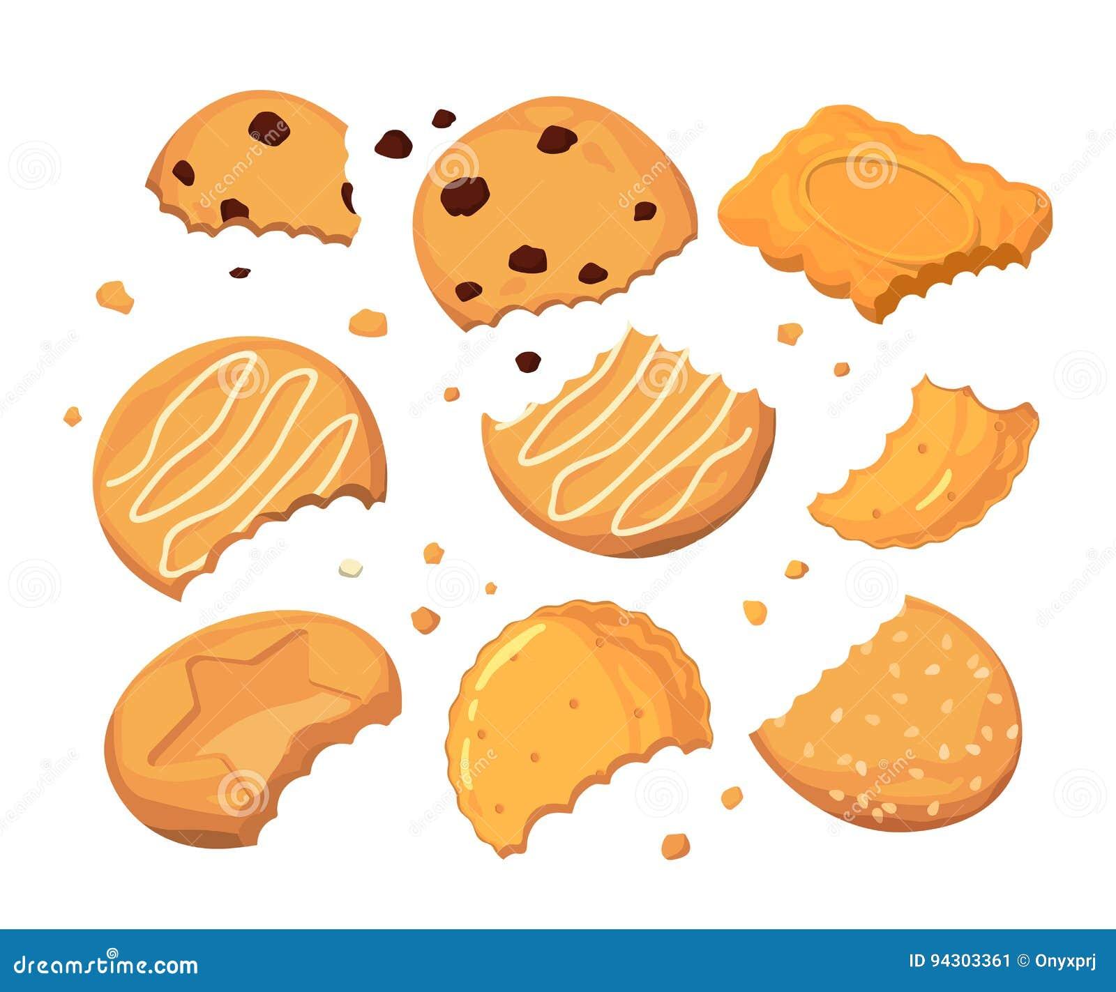Traces des piqûres sur les biscuits et les différentes petites miettes Ensemble d illustration de vecteur de bande dessinée