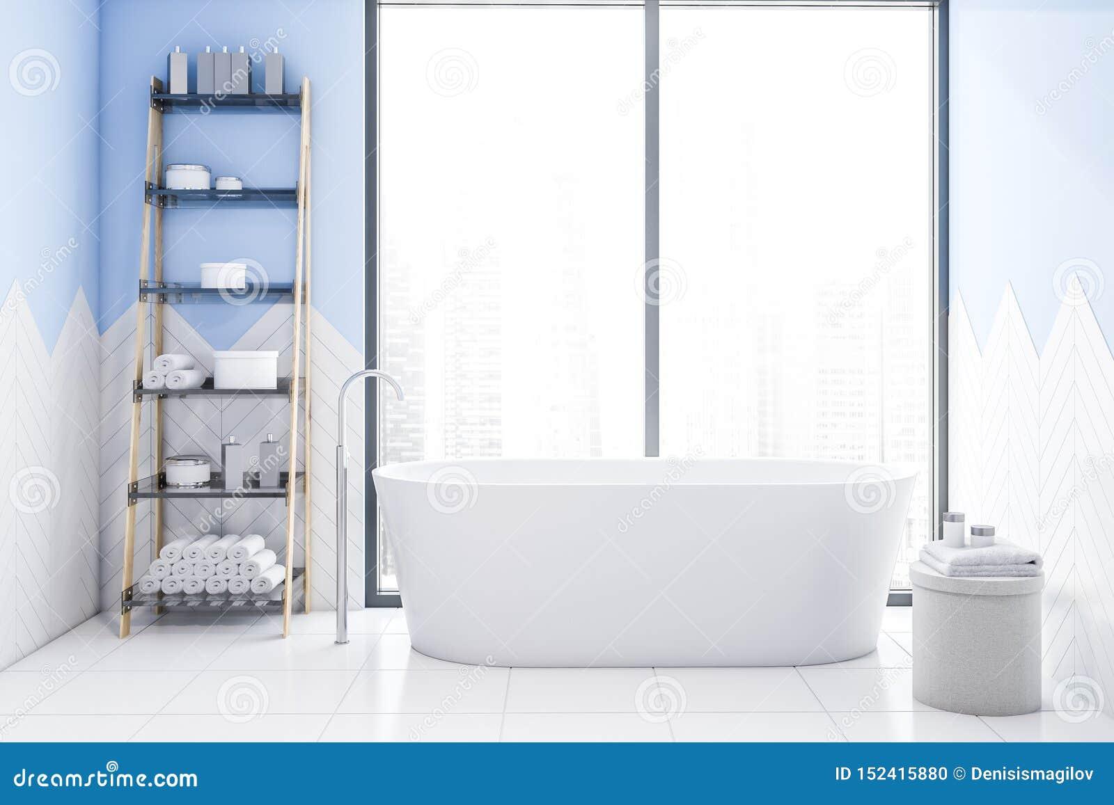 Tracez l intérieur blanc et bleu de salle de bains avec le baquet