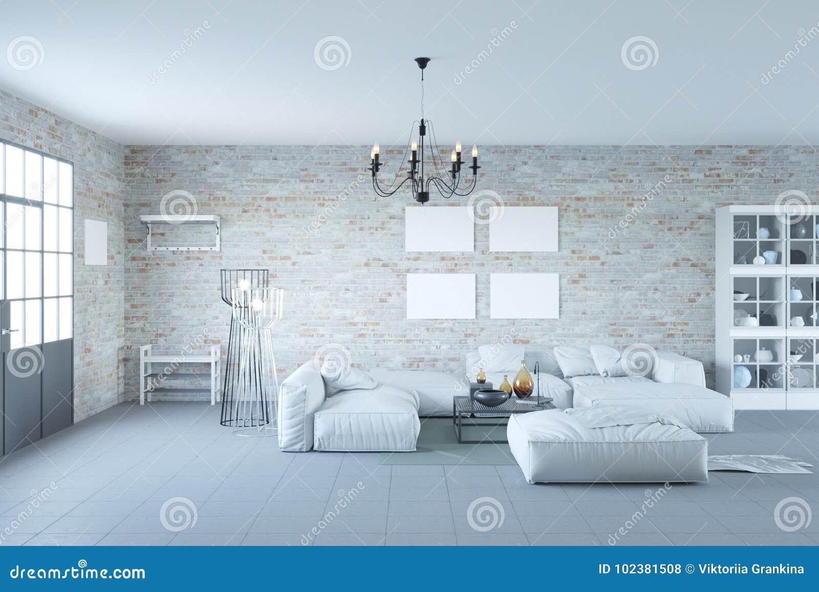 Tracez L Intérieur De Salon Avec La Porte Et Le Mur De Briques Noirs