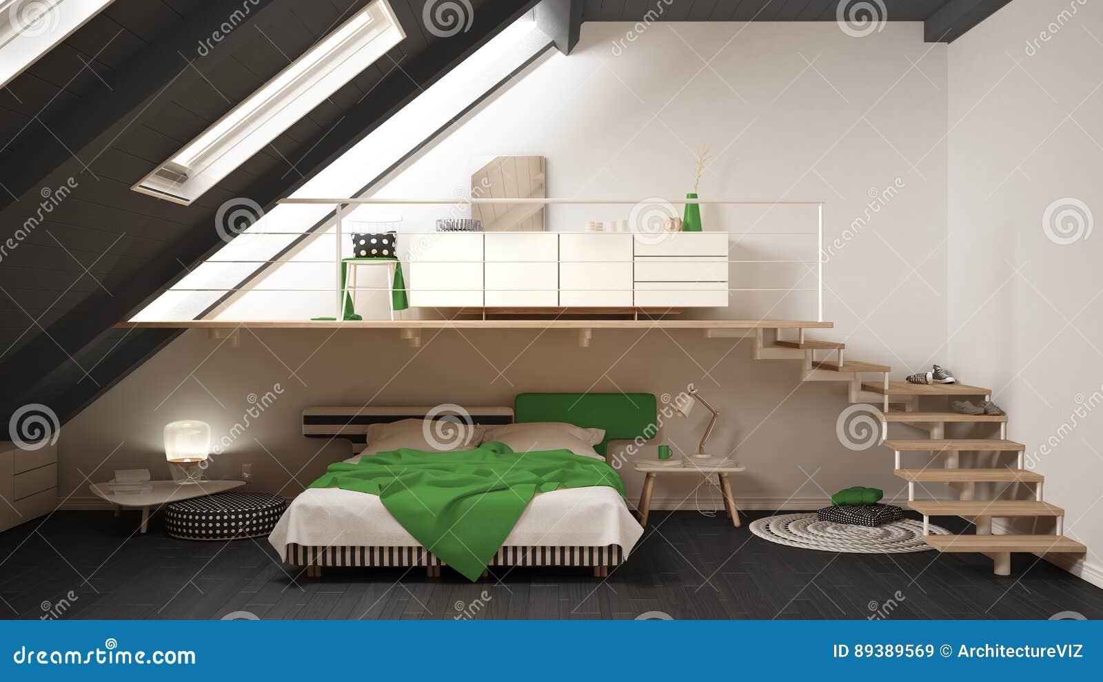 Tracez La Chambre à Coucher Minimaliste Scandinave, Le Vert Et Le ...