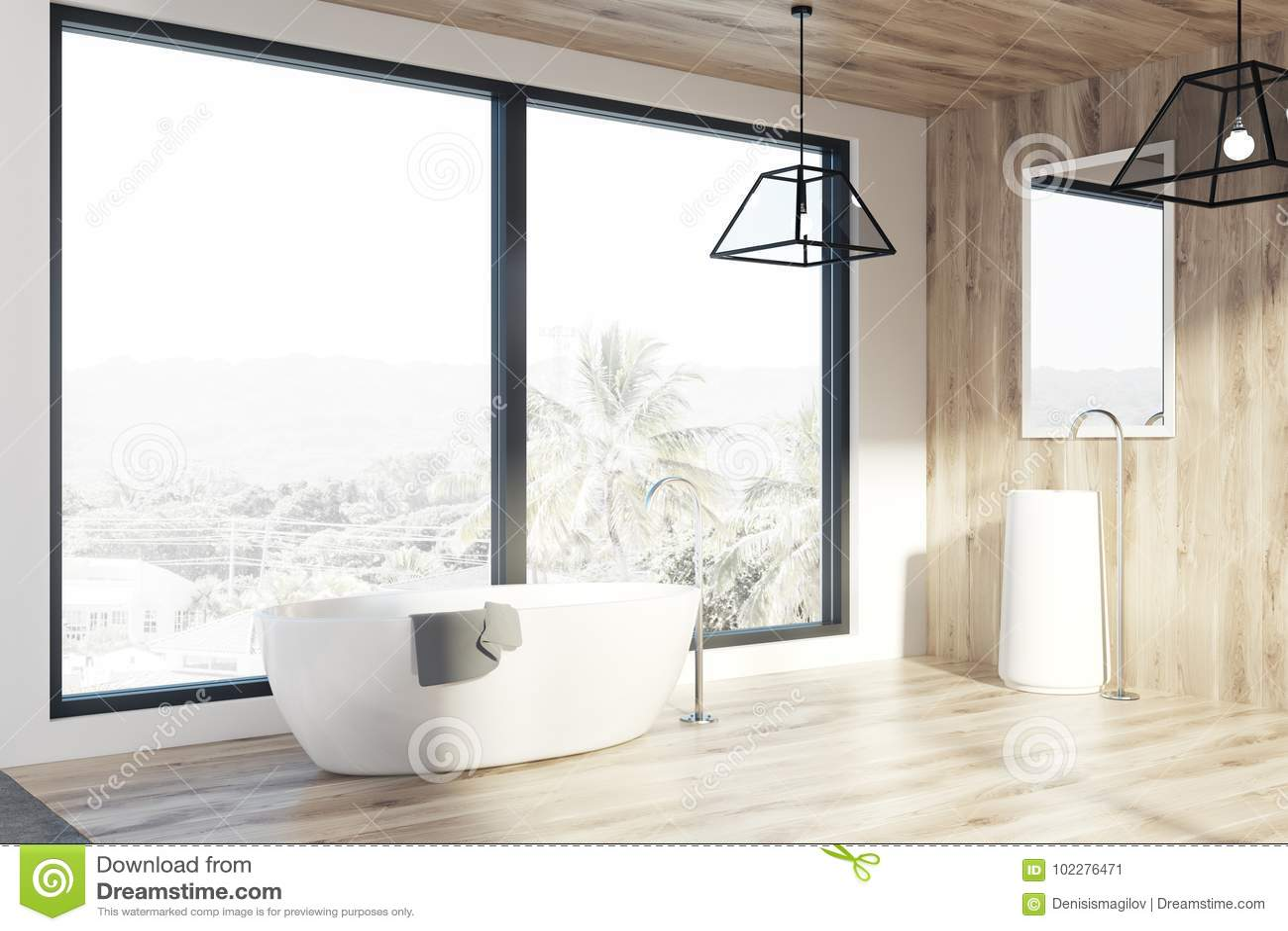 Lumières De Salle De Bains tracez la salle de bains, murs en bois de lumière, un baquet