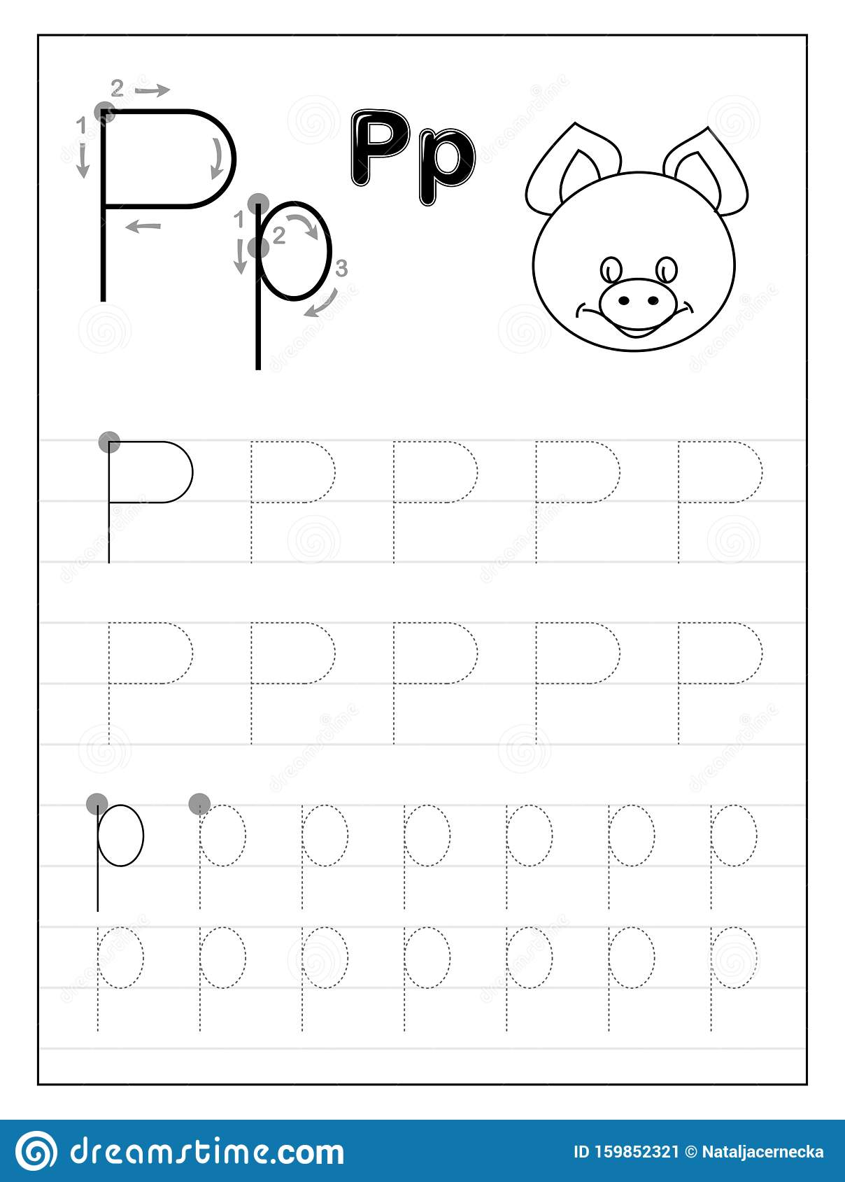 - Tracing Alphabet Letter P. Black And White Educational Pages On