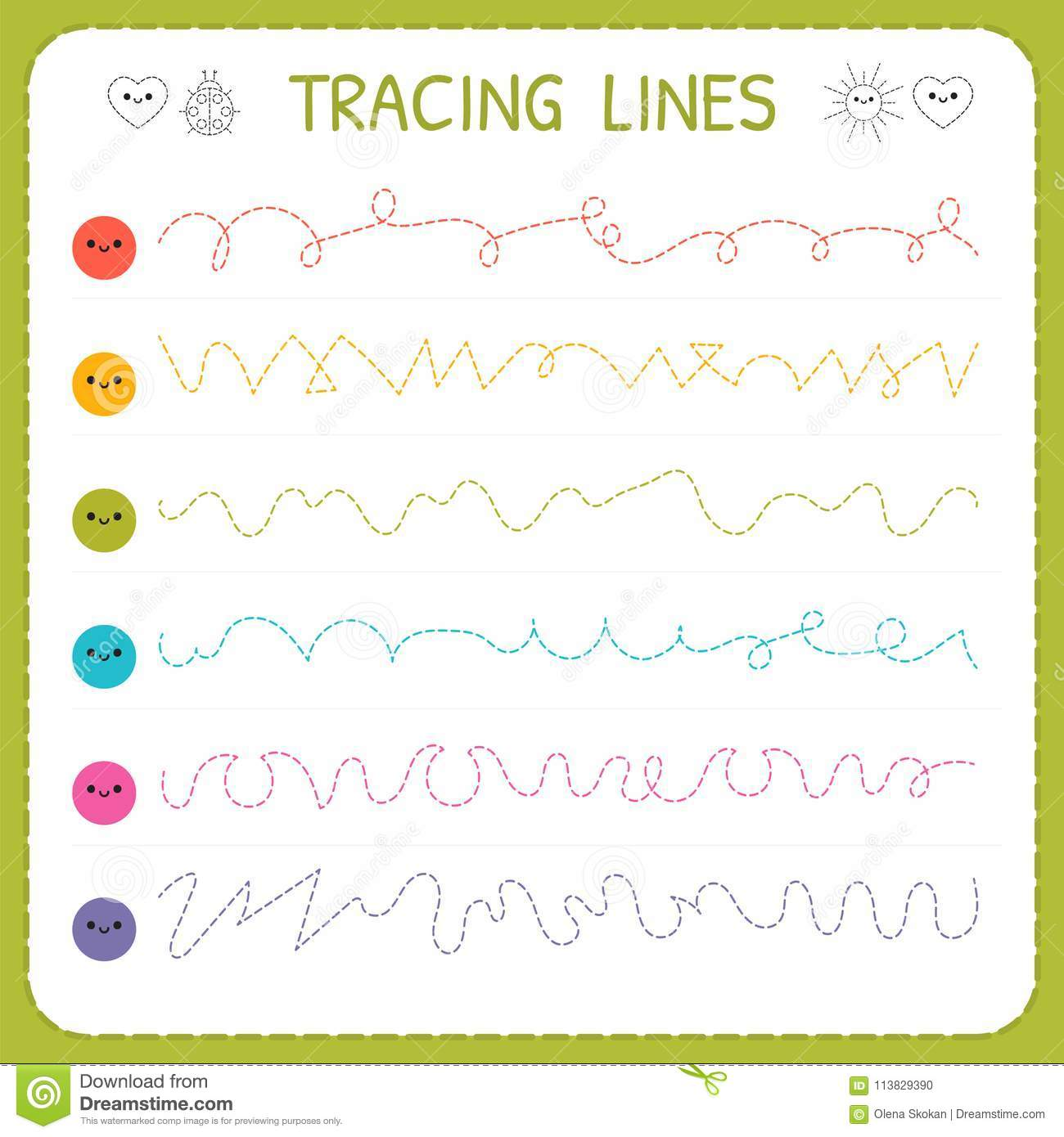 Tracing Lines. Basic Writing. Worksheet For Kids. Working Pages For ...