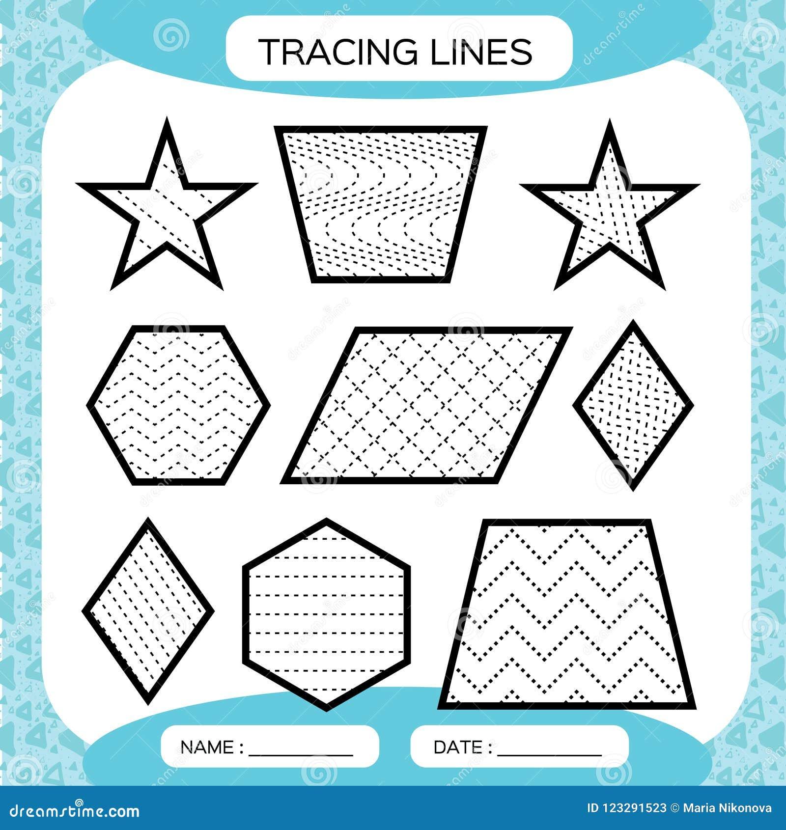 Tracing Lines Kids Education Preschool Worksheet Basic Writing Doing Worksheets