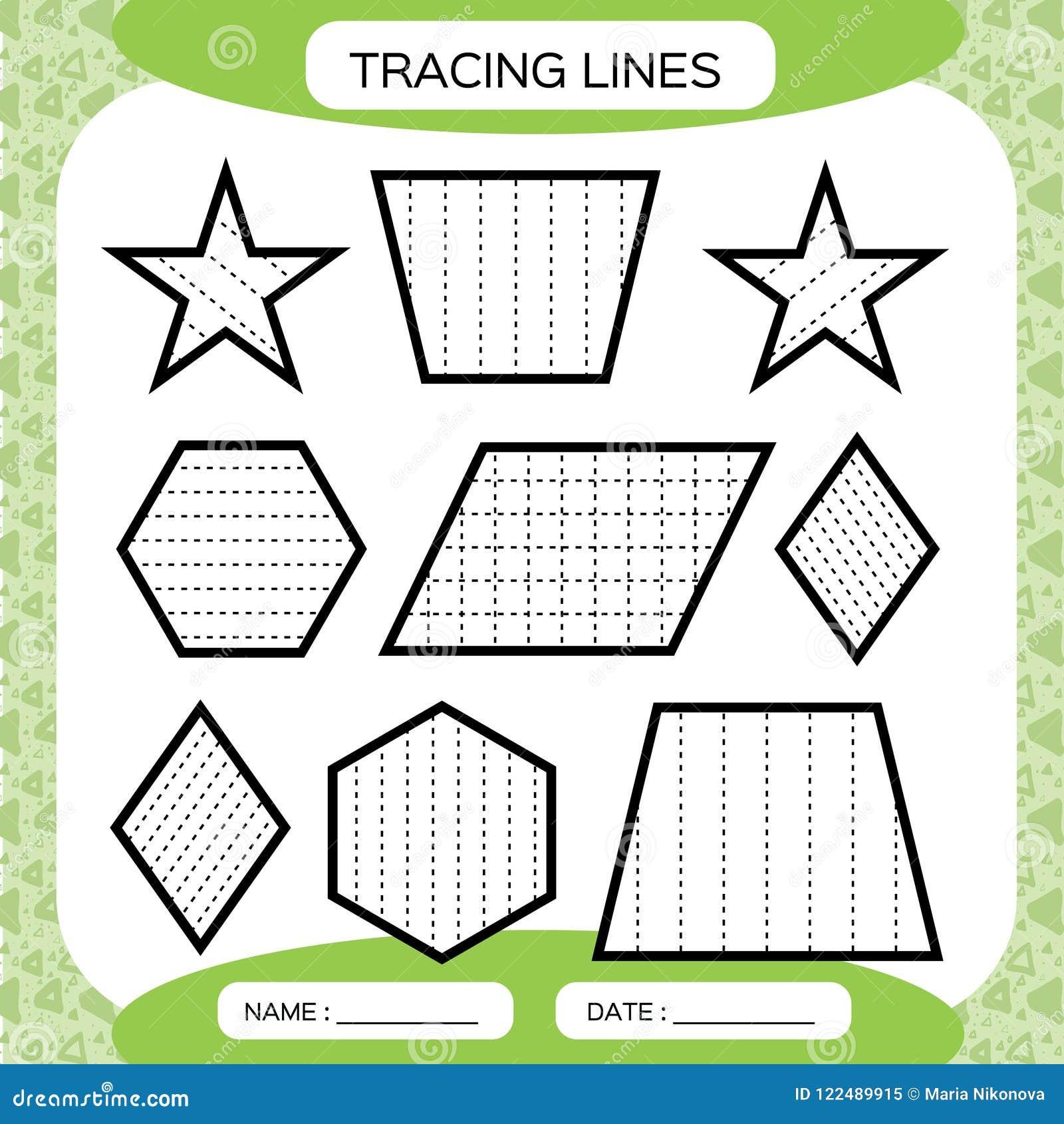 Tracing Lines. Kids Education. Preschool Worksheet. Basic Writing ...