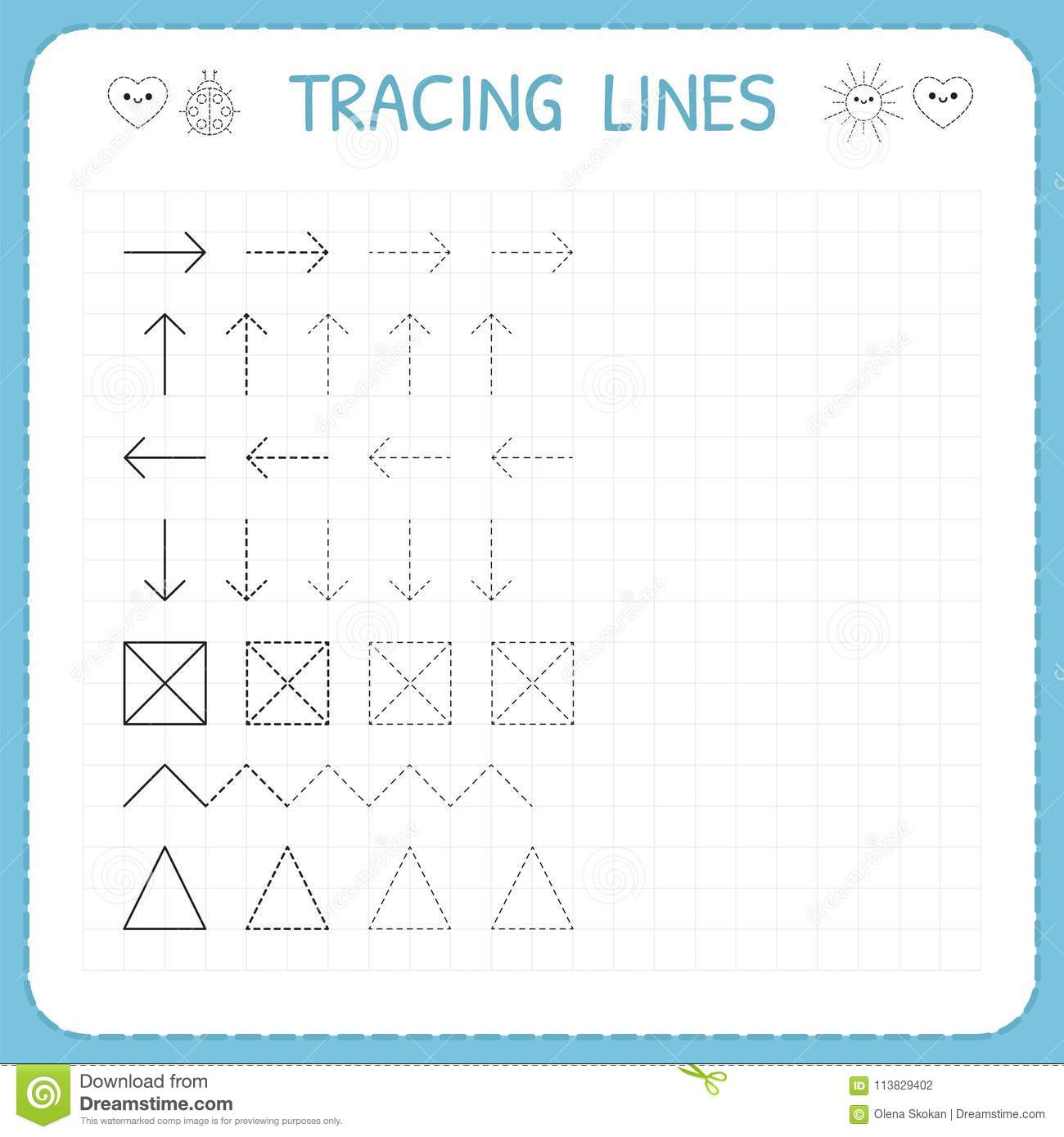 Tracing lines. Working pages for children. Preschool or kindergarten worksheets. Basic writing. Trace the pattern. Worksheet for k