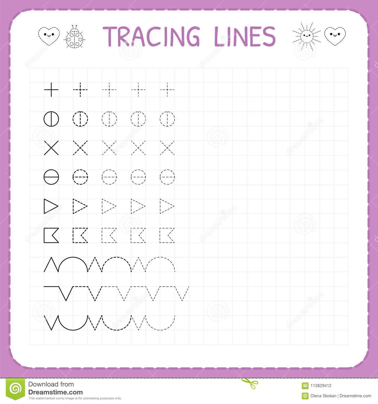 Tracing Lines. Working Pages For Children. Preschool Or Kindergarten ...