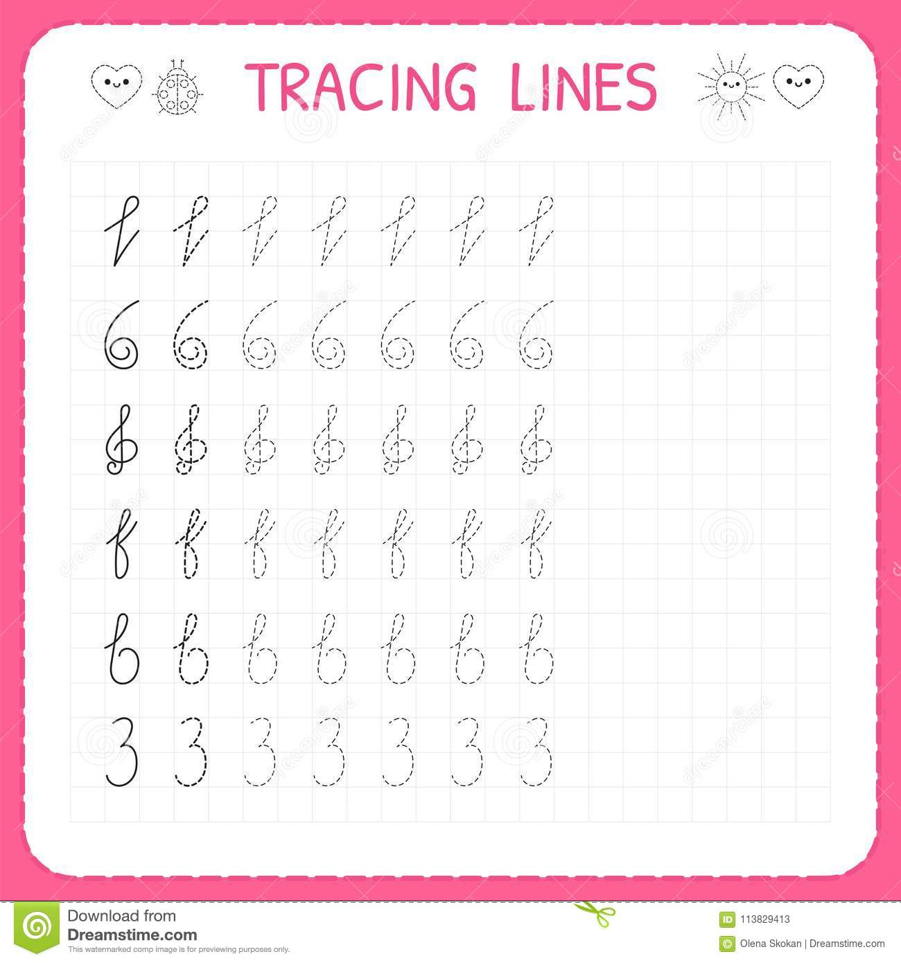 tracing lines worksheet for kids trace the pattern basic writing preschool or kindergarten. Black Bedroom Furniture Sets. Home Design Ideas