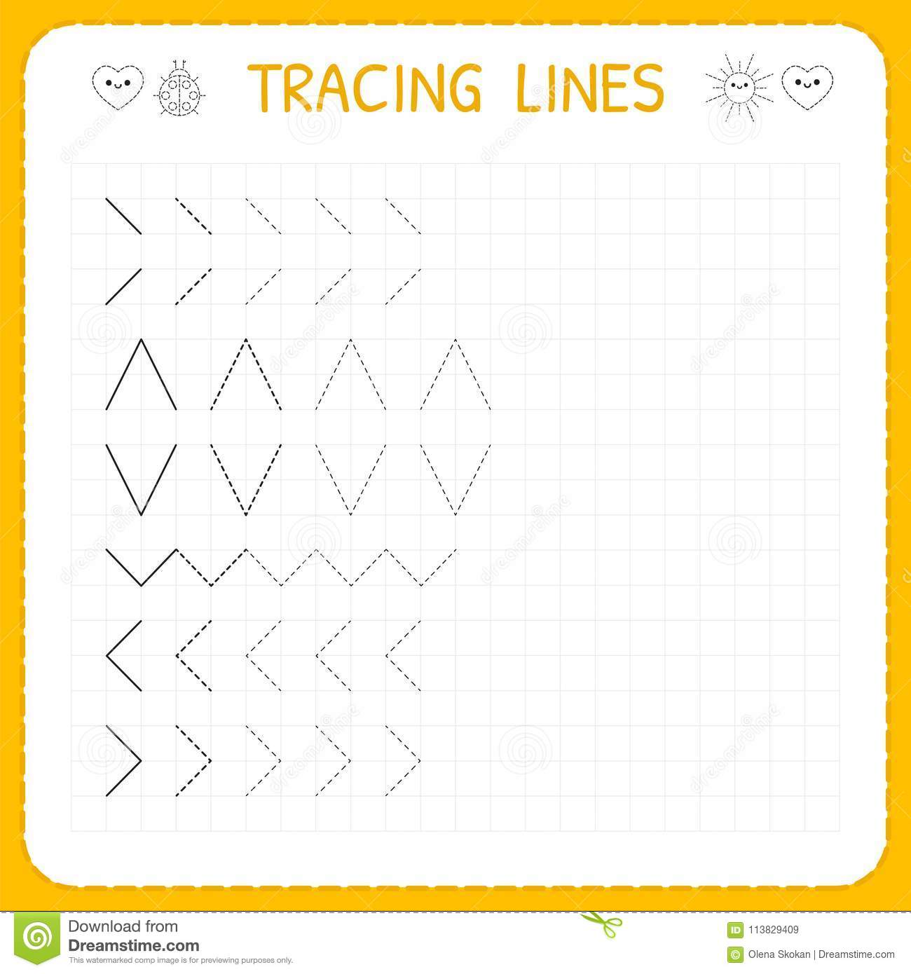 Tracing Lines. Worksheet For Kids. Working Pages For Children ...