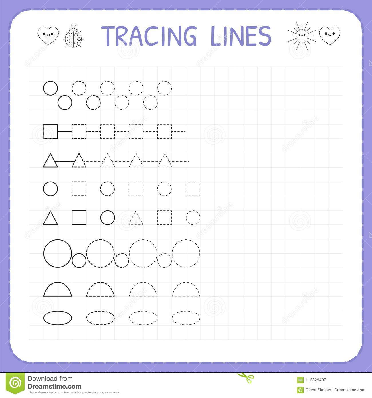 Tracing Lines. Worksheet For Kids. Working Pages For Children. Trace ...
