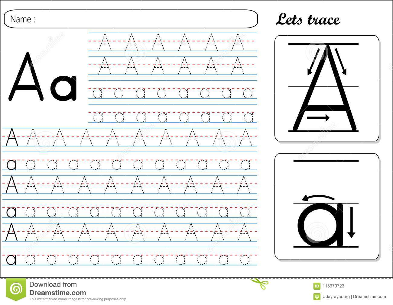 Tracing Worksheet -Aa stock vector. Illustration of small ...
