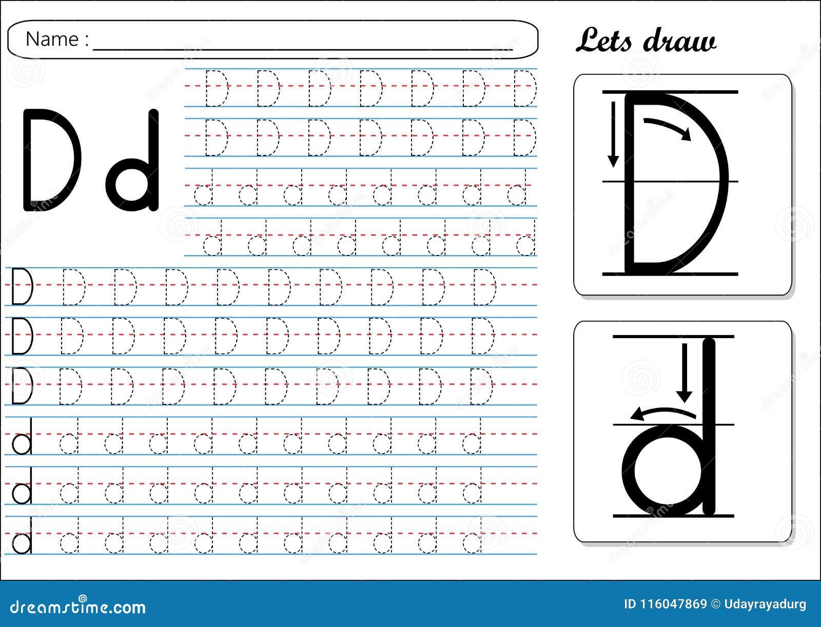 Tracing Worksheet Dd Stock Vector Illustration Of Small 116047869