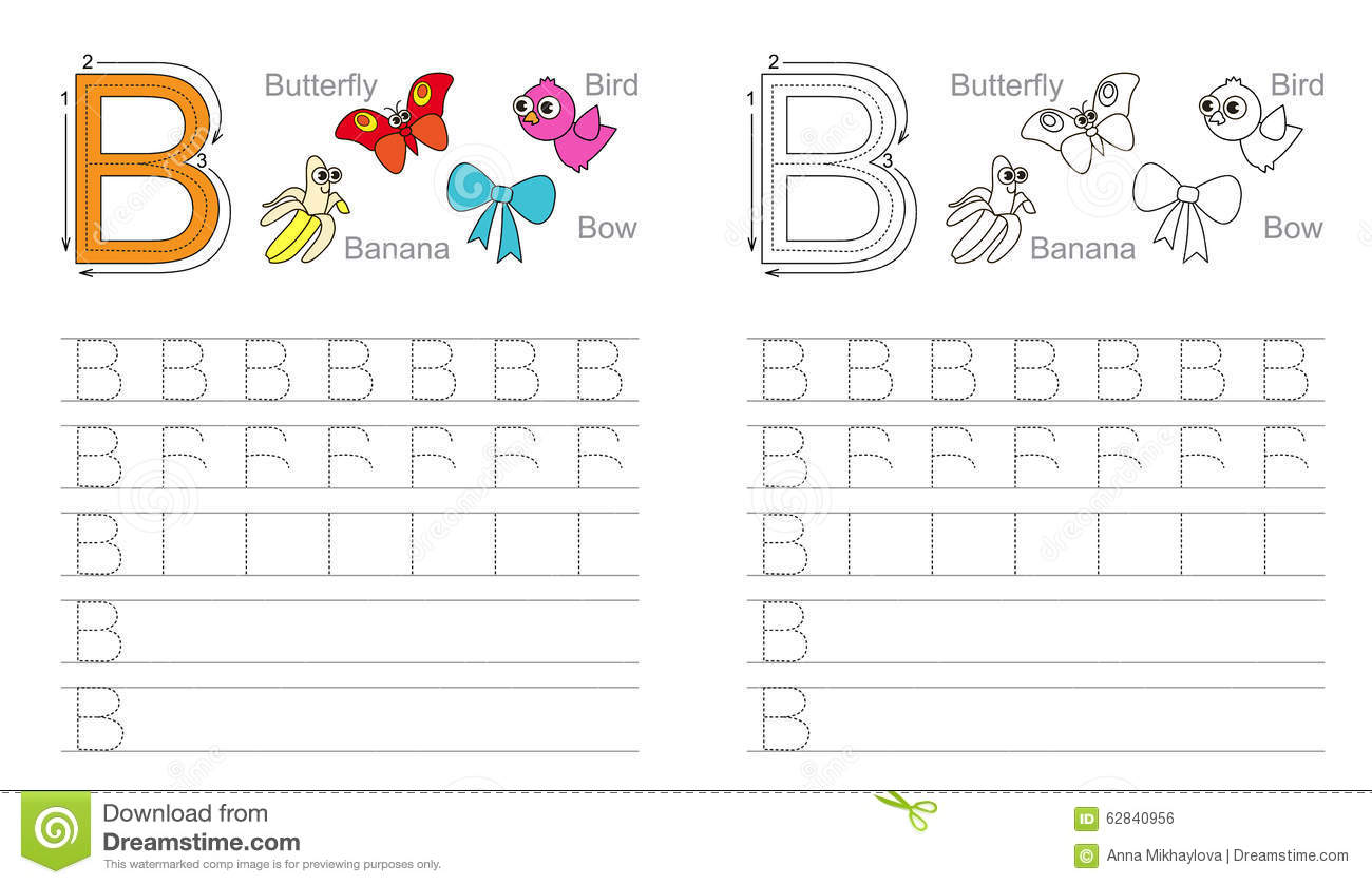 Tracing Worksheet For Letter B Stock Vector - Image: 62840956