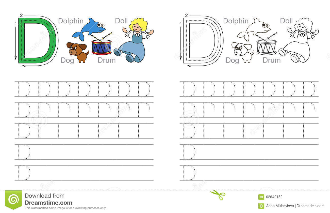 Tracing Worksheet For Letter D