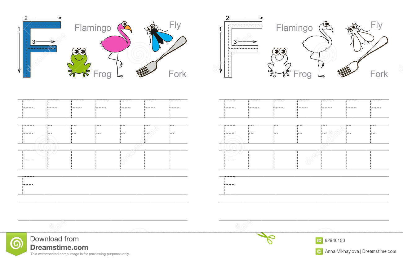 Learn handwriting page to be colored tracing worksheet for letter f