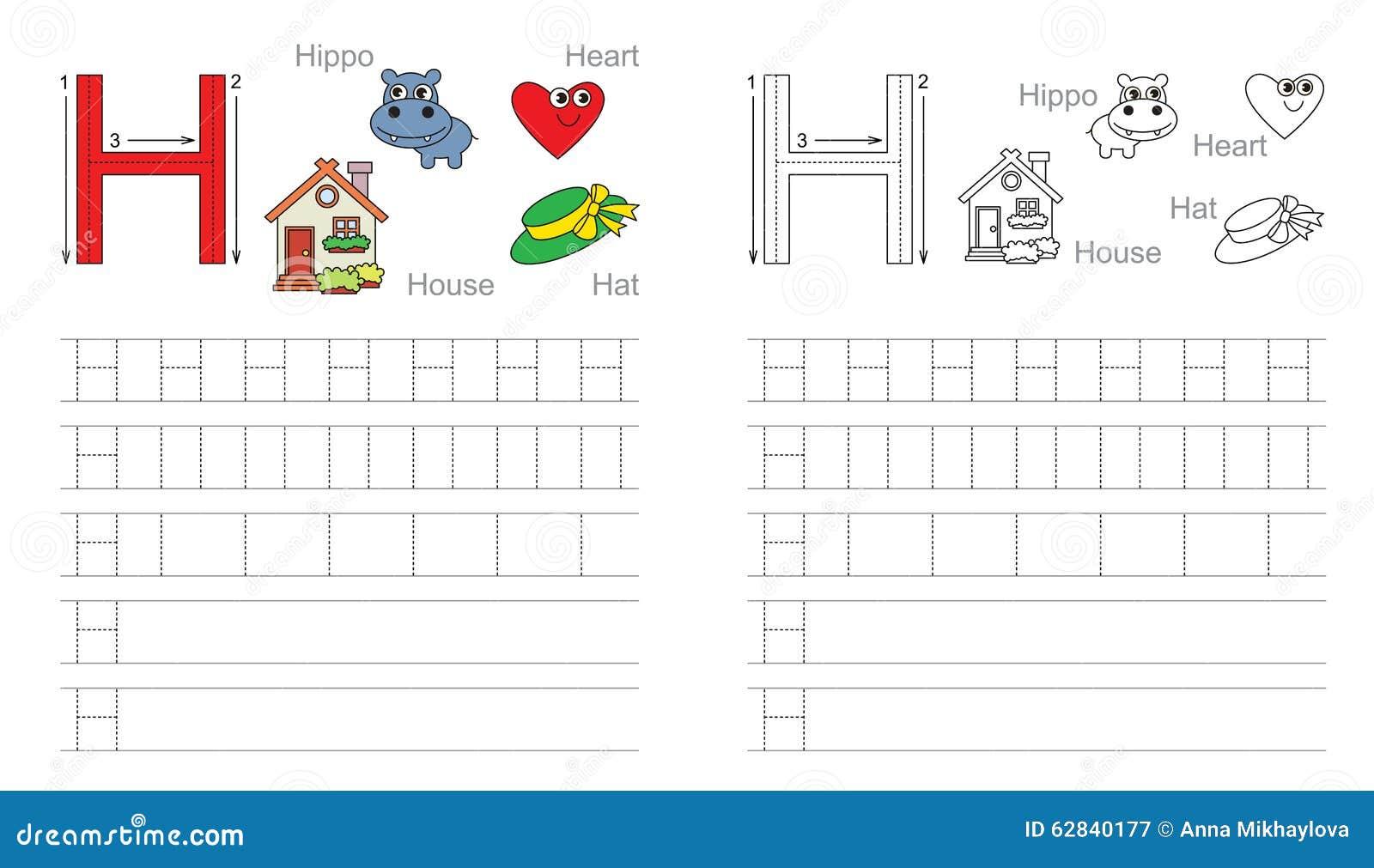 worksheet H Handwriting Worksheet tracing worksheet for letter h stock vector illustration of h