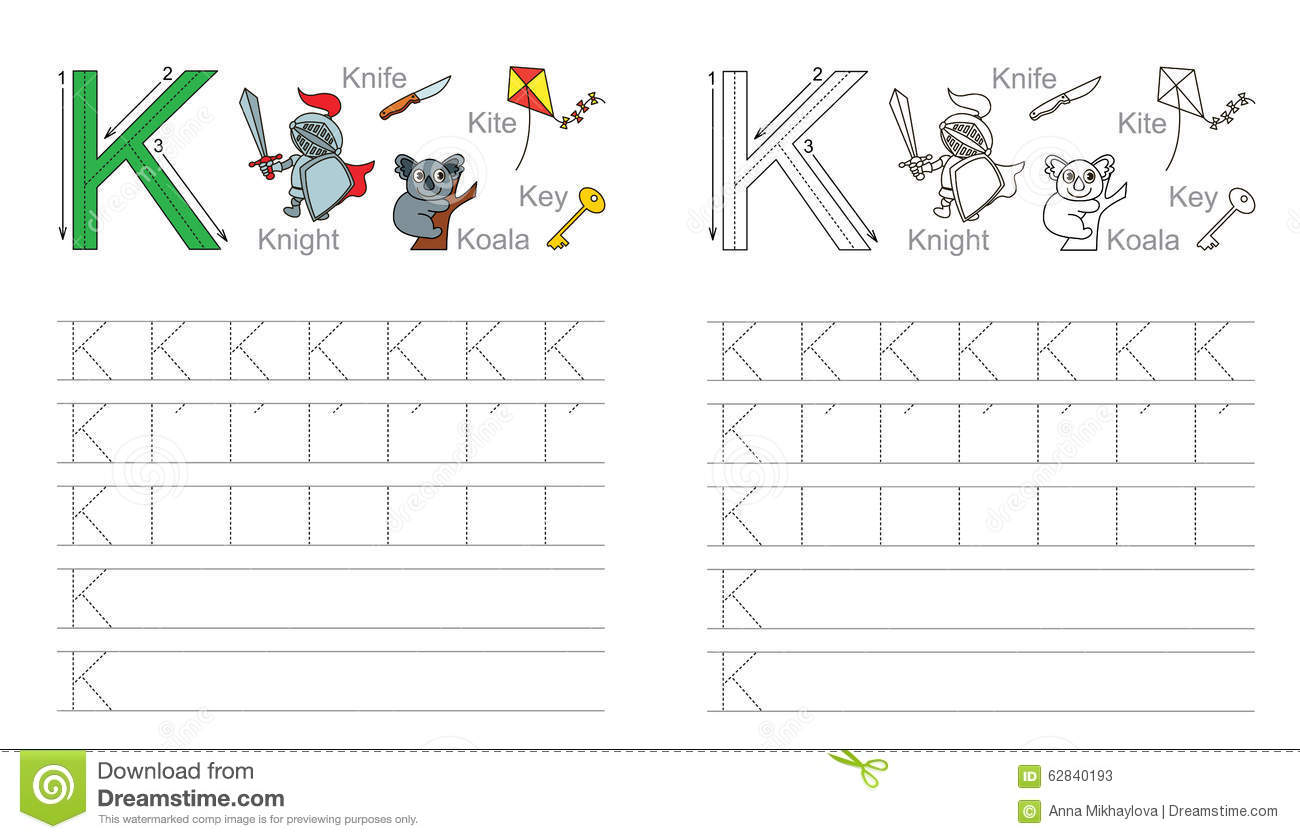 Worksheet Tracing The Letter K tracing worksheet for letter k stock vector image 62840193 royalty free download k