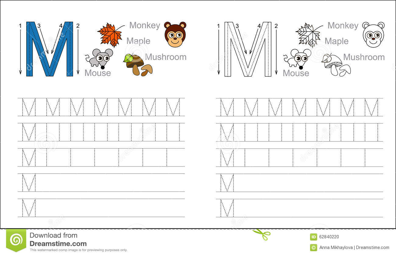 ... Learn handwriting. Page to be colored. Tracing worksheet for letter M