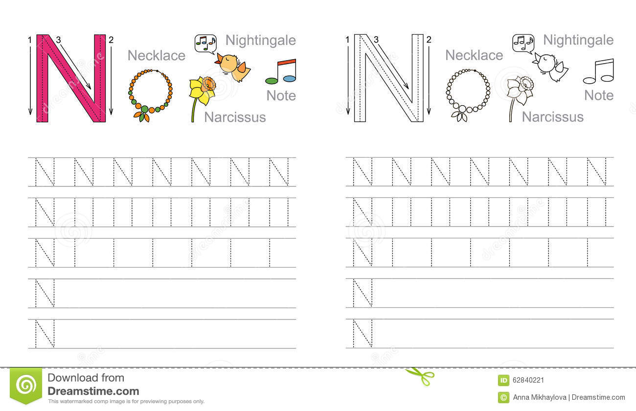 ... Learn handwriting. Page to be colored. Tracing worksheet for letter N