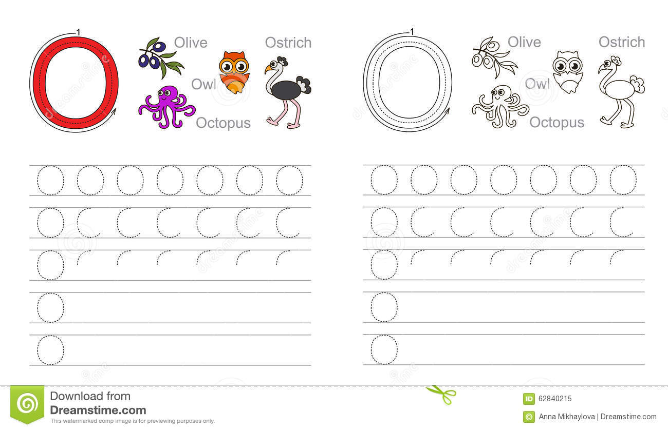 worksheet Letter O Worksheet tracing worksheet for letter o stock vector illustration of o