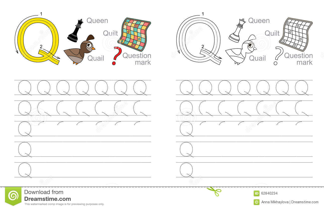 Worksheets Letter Q Worksheet tracing worksheet for letter q stock vector illustration of q