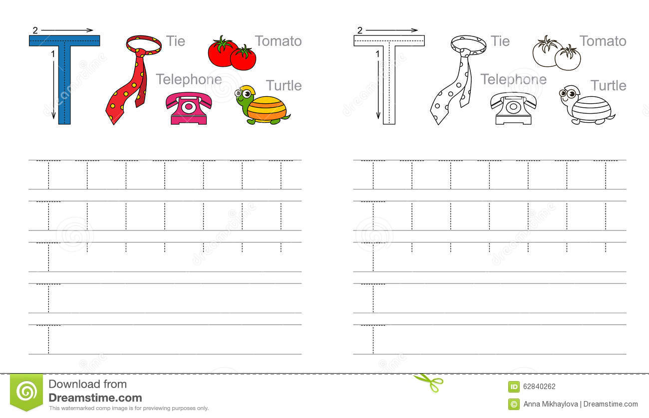 Tracing Worksheet For Letter T Stock Vector - Image: 62840262