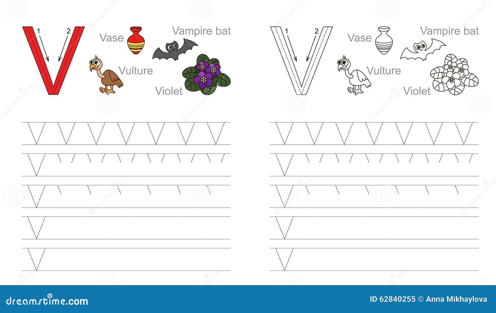 Tracing Worksheet For Letter V Stock Vector - Illustration ...