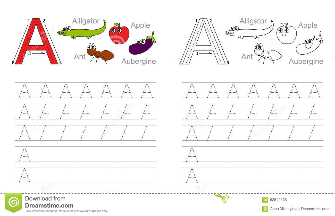 Worksheet Tracing Letter A tracing worksheet for letter a stock vector image 62840136 a