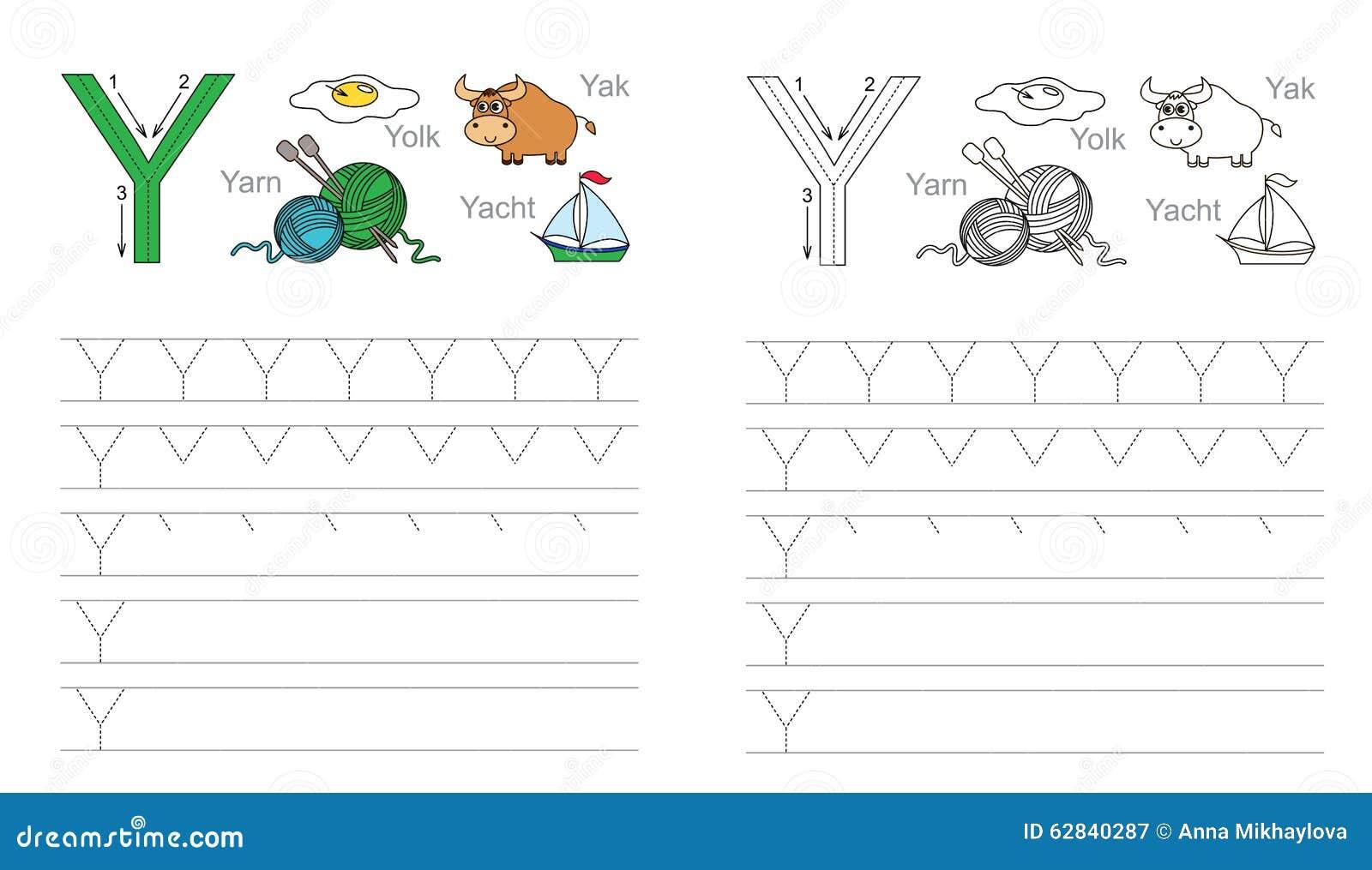 Free Worksheet Letter Y Worksheet tracing worksheet for letter y stock vector image 62840287 y